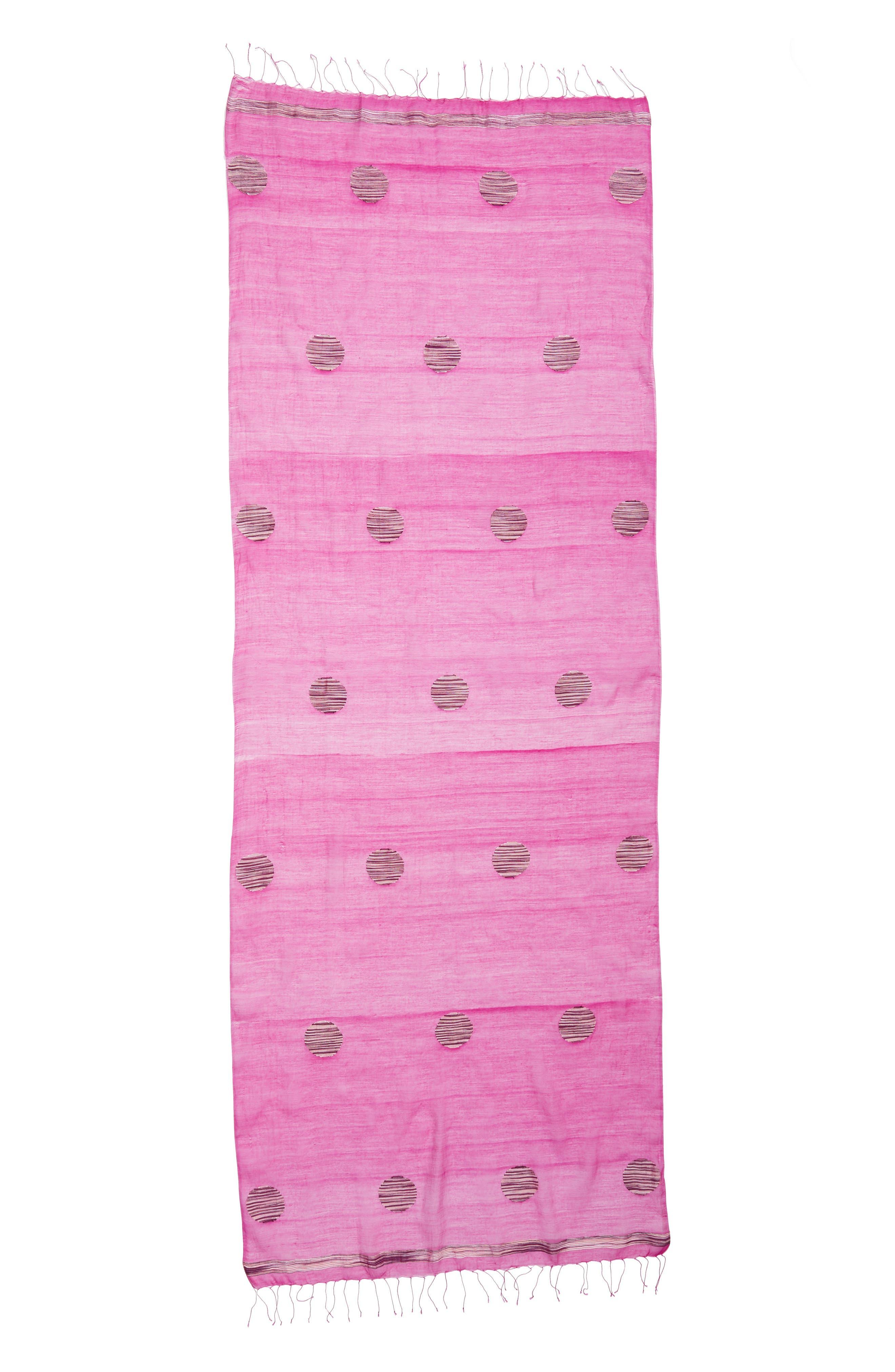 Dot Organic Cotton Blend Scarf,                             Alternate thumbnail 3, color,                             Cerise