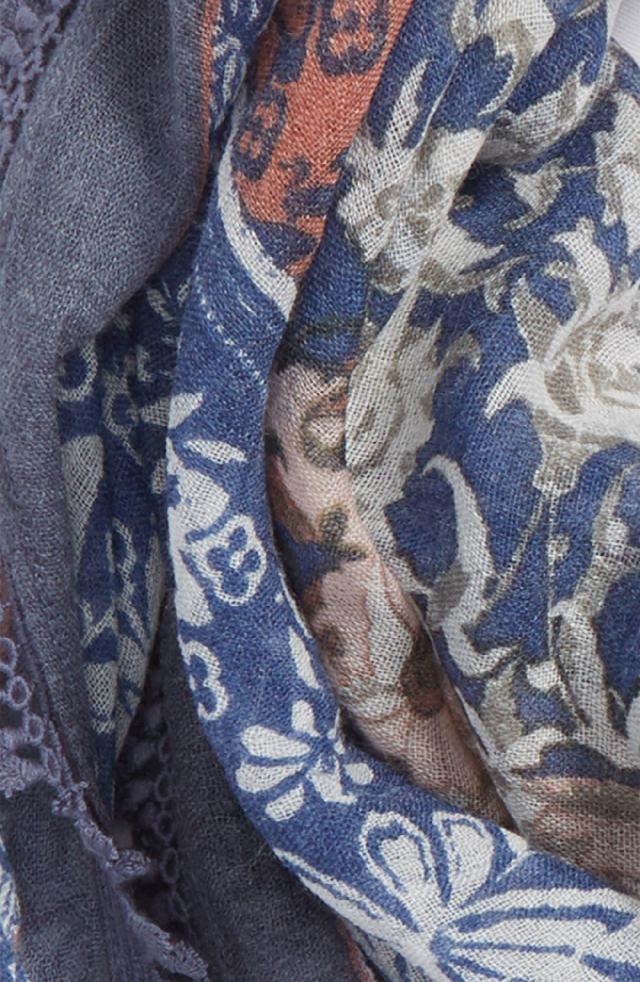 Floral Fringe Scarf,                             Alternate thumbnail 3, color,                             Blue Marche Vintage