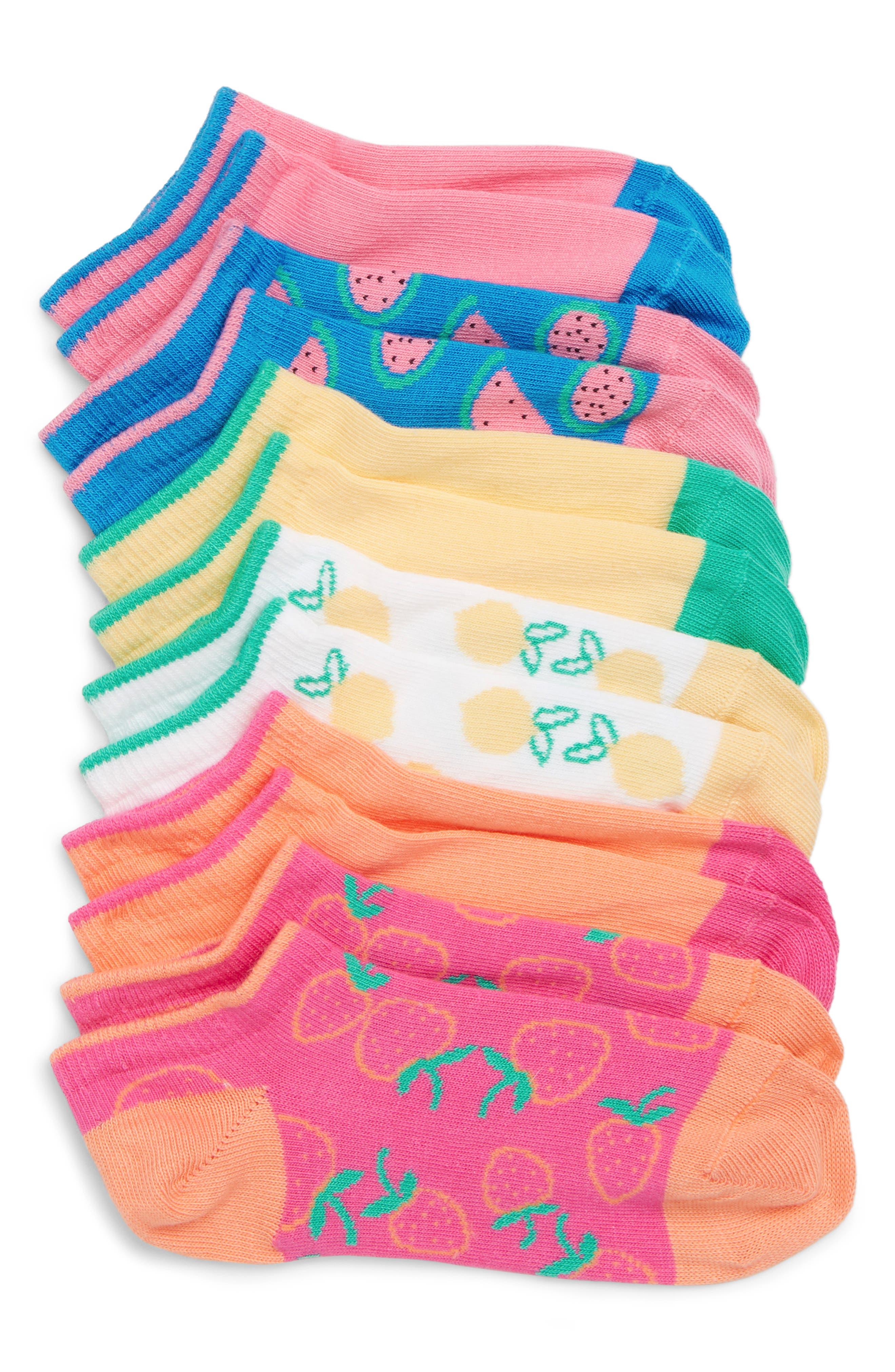 6-Pack Summer Fruit Low-Cut Socks,                             Main thumbnail 1, color,                             Blue Azul/Pink Multi