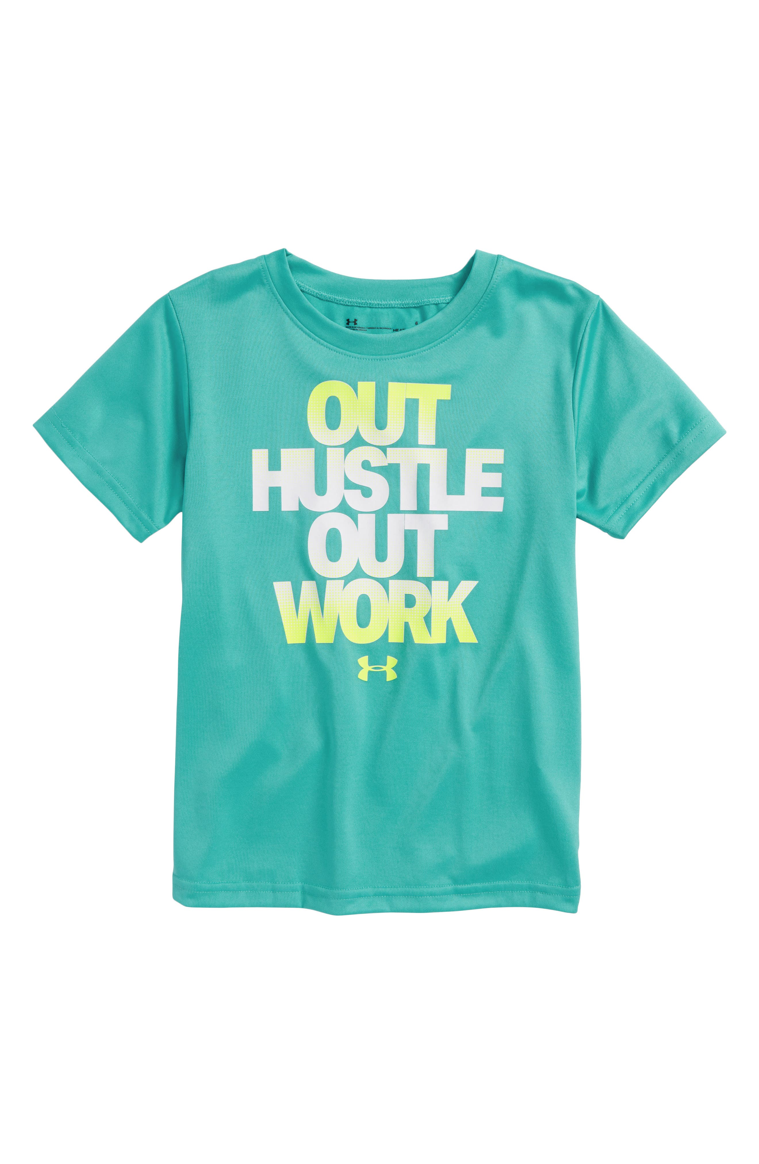 Out Hustle Out Work HeatGear<sup>®</sup> T-Shirt,                         Main,                         color, Teal Punch