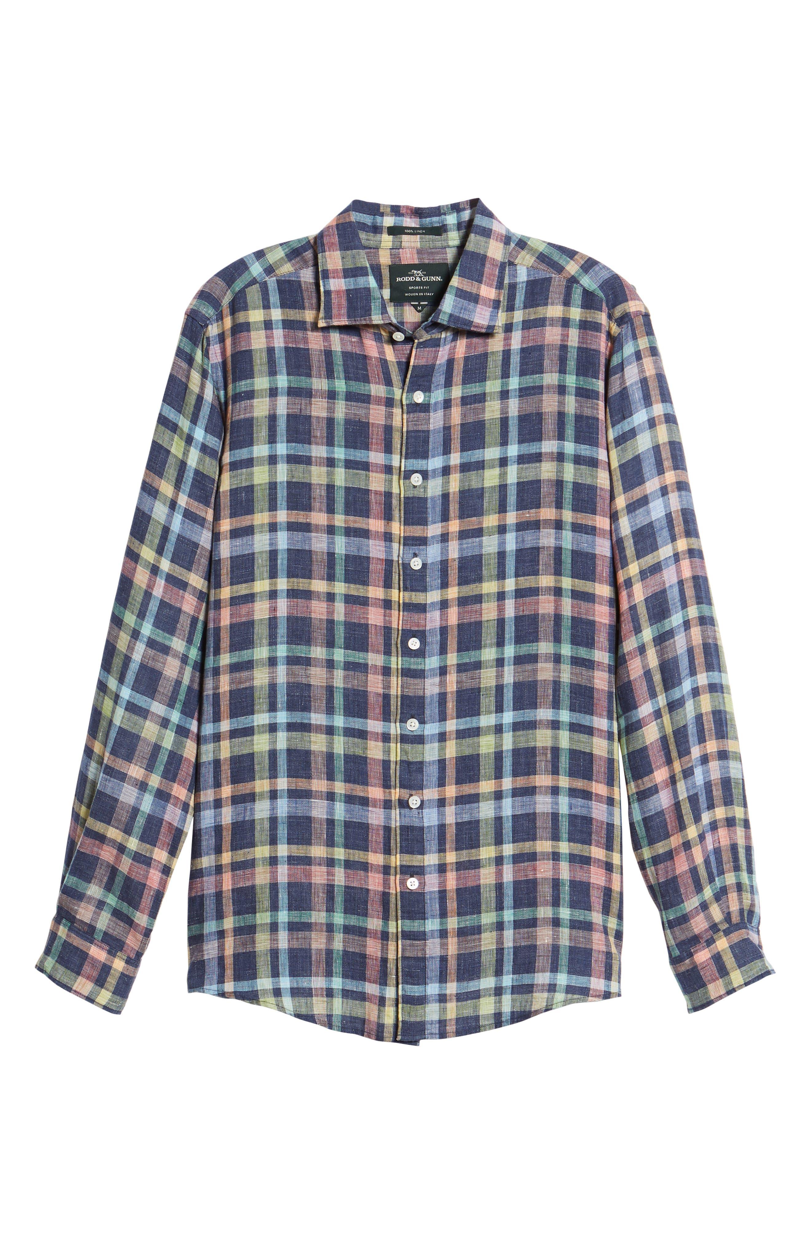 Stirling Plaid Linen Sport Shirt,                             Alternate thumbnail 6, color,                             Ink