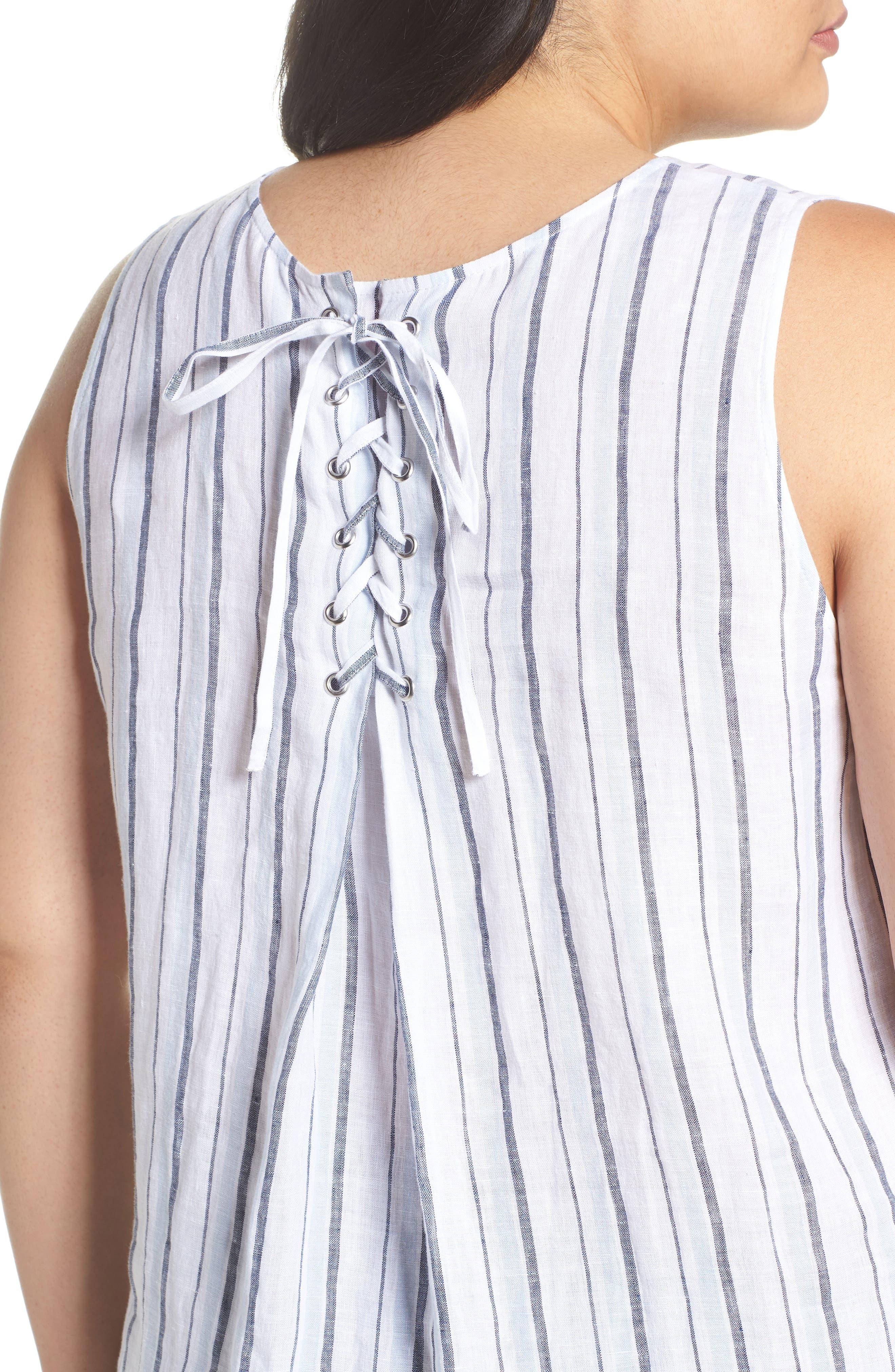 Stripe Lace-Up Back Linen Top,                             Alternate thumbnail 4, color,                             Dew Blue