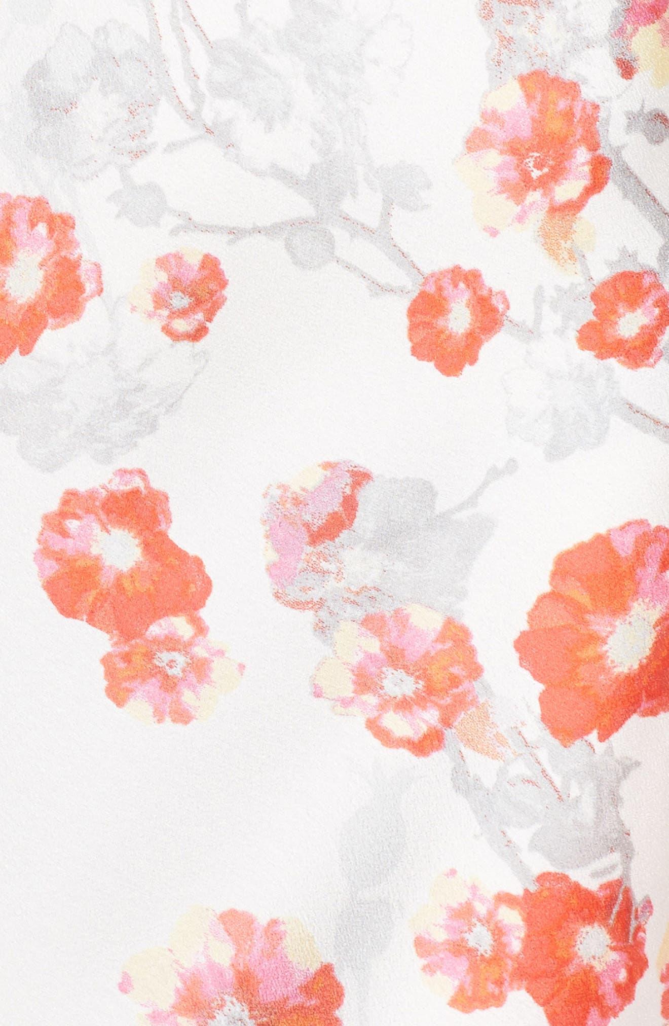 Blossom Print Satin Chemise,                             Alternate thumbnail 6, color,                             White/ Multi