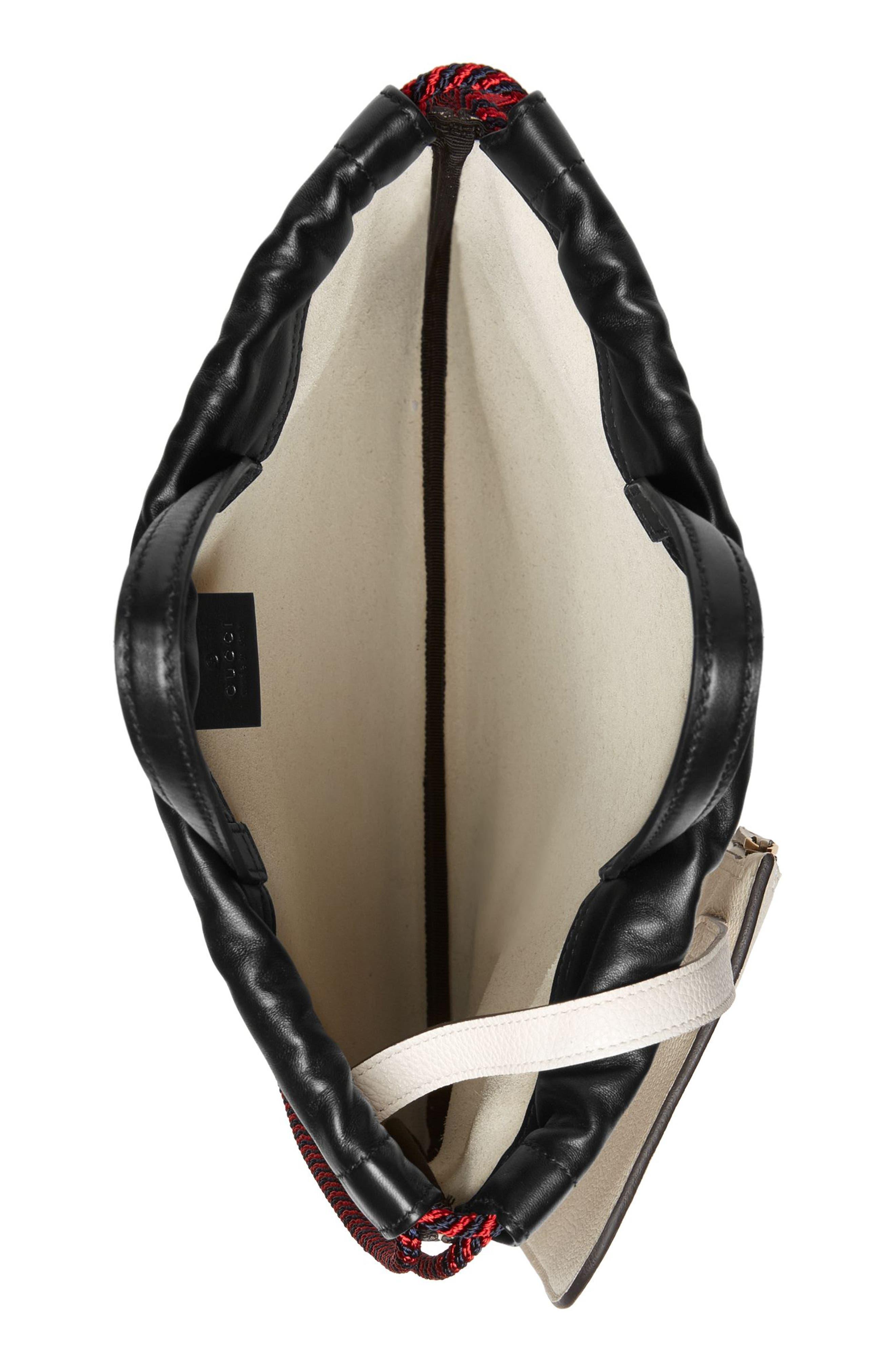Small Logo Leather Drawstring Backpack,                             Alternate thumbnail 3, color,                             Mystic White/ Vert Red Vert