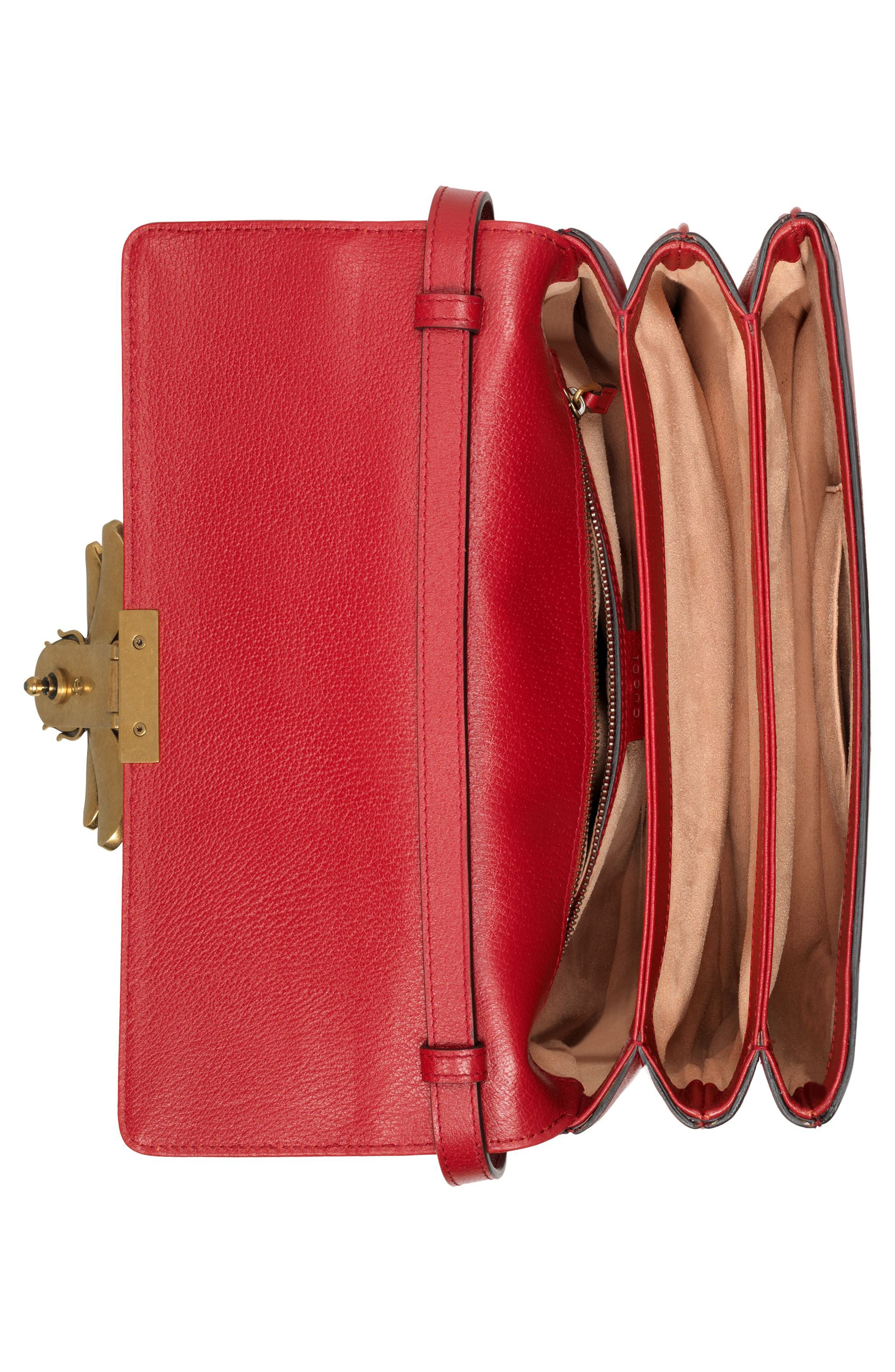 Queen Margaret GG Supreme Small Crossbody Bag,                             Alternate thumbnail 3, color,                             Beige Ebony/ Blue Red/ Ruby