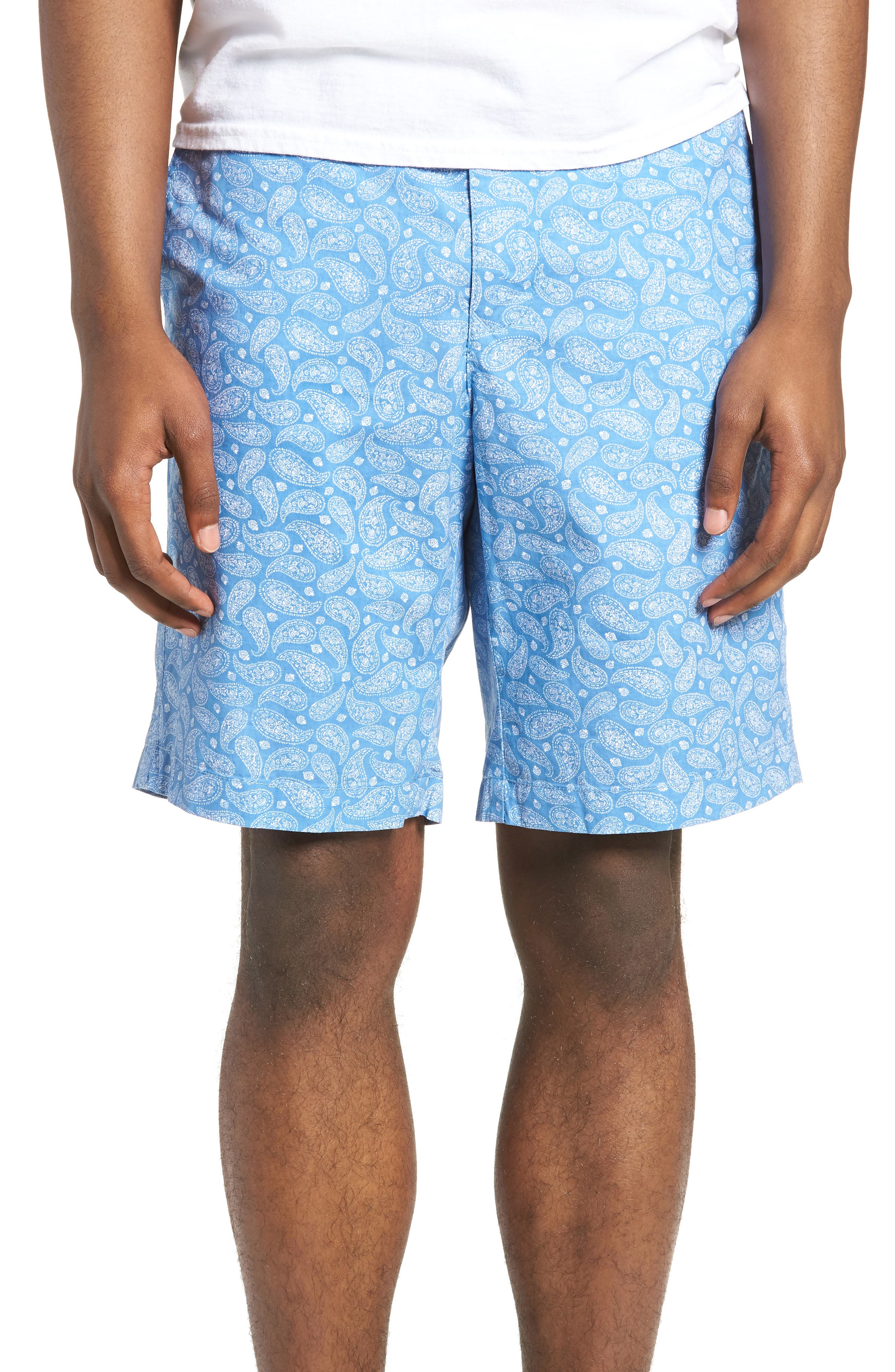 Bandana Paisley Print Shorts,                             Main thumbnail 1, color,                             Blue Lake Bandana Paisley