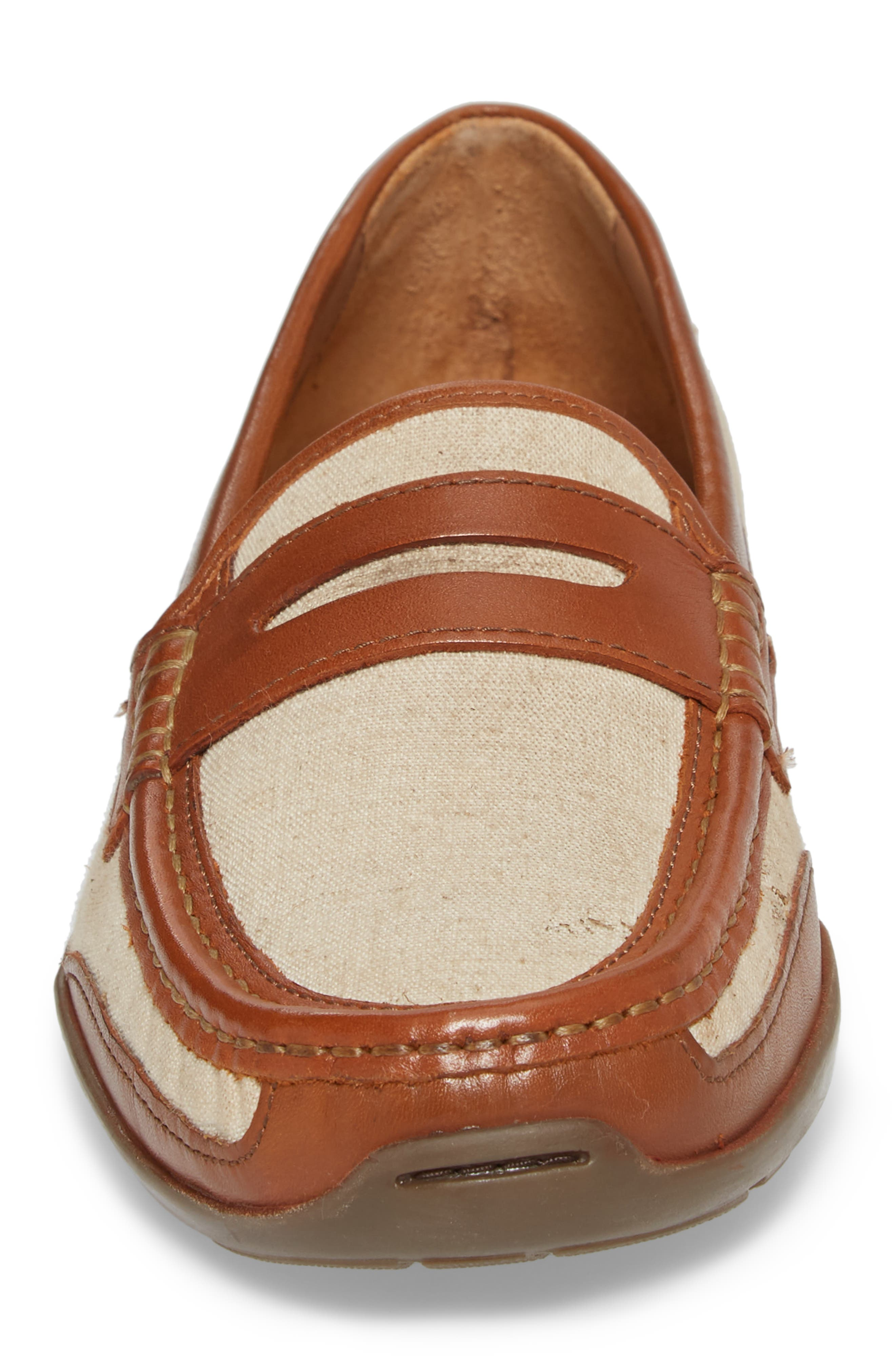 Taza Fronds Driving Shoe,                             Alternate thumbnail 4, color,                             Brown/ Natural Leather/ Linen