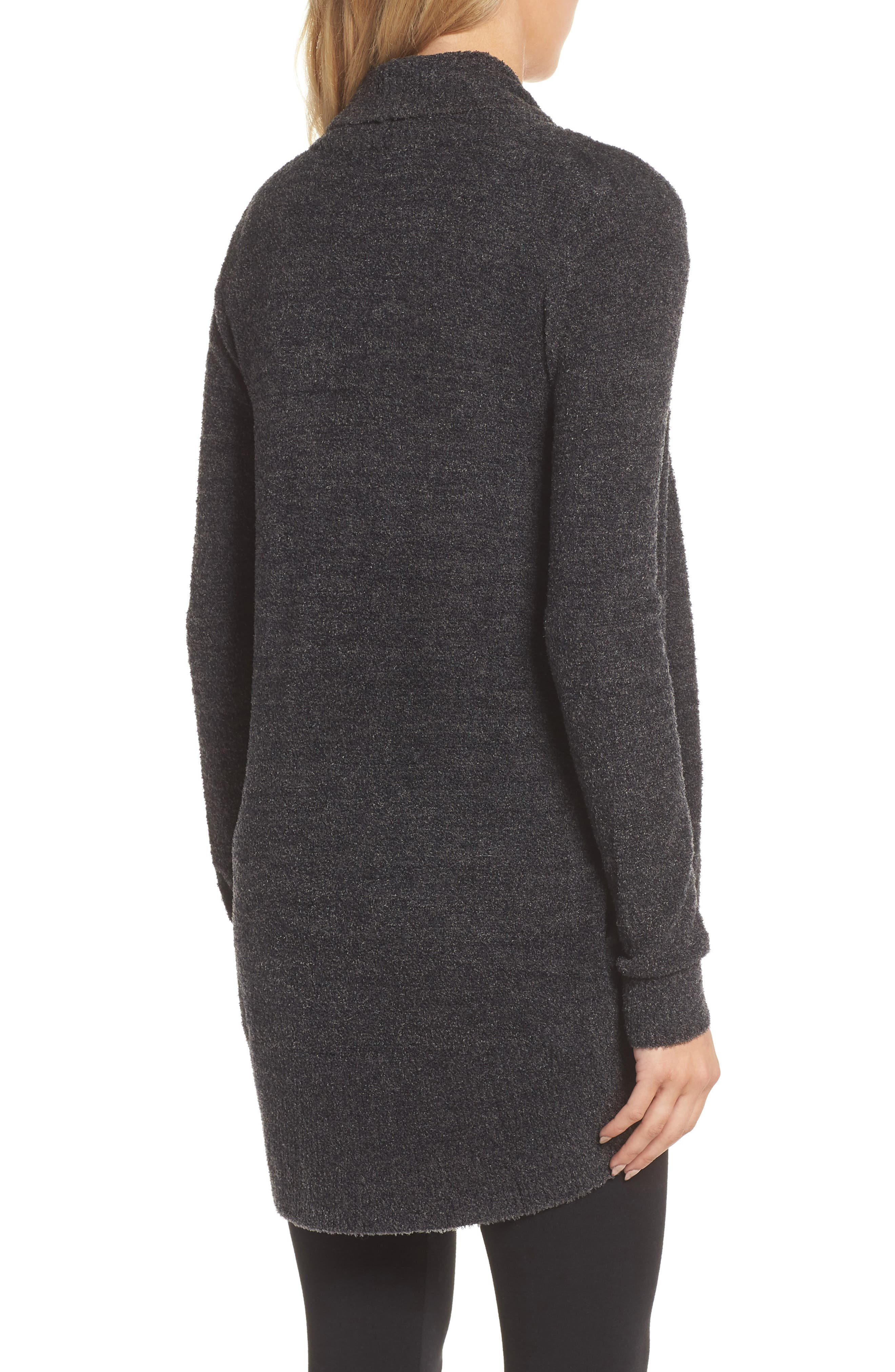 CozyChic Lite<sup>®</sup> Circle Cardigan,                             Alternate thumbnail 2, color,                             Carbon/ Black Heather