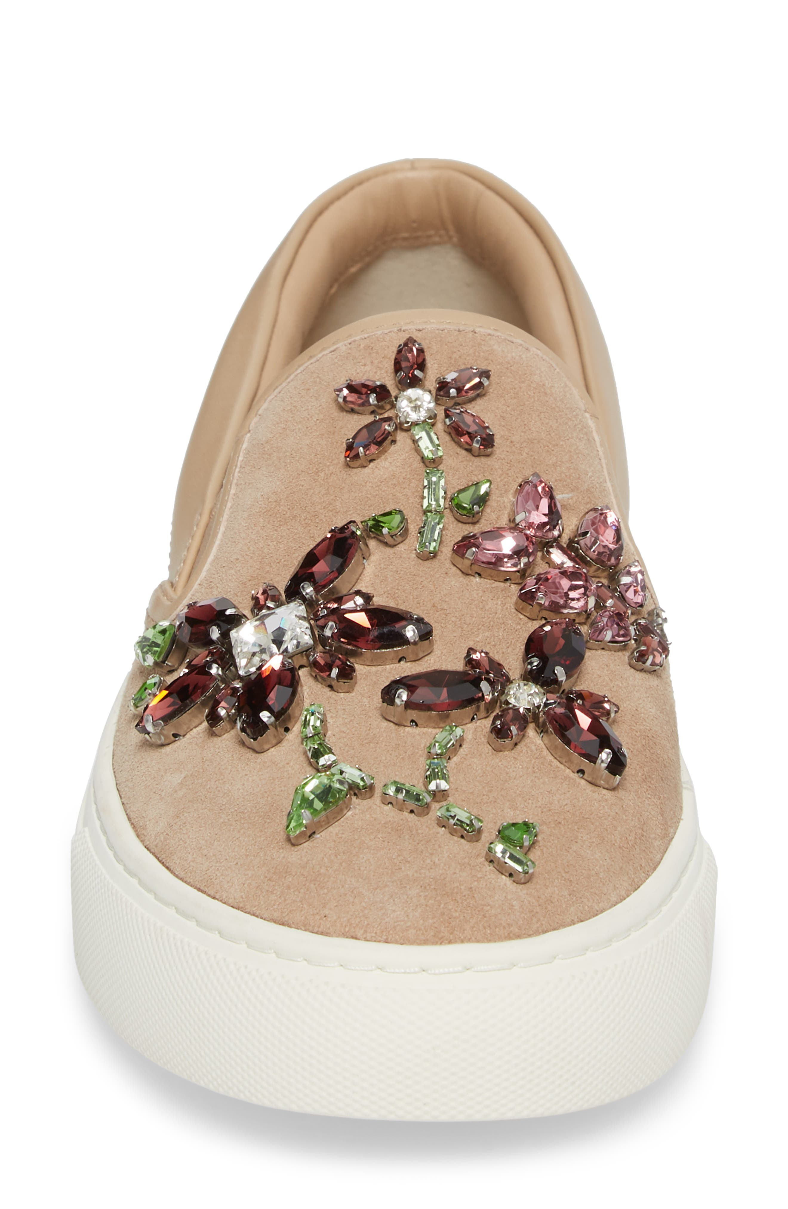 Meadow Embellished Slip-On Sneaker,                             Alternate thumbnail 4, color,                             Perfect Sand/ Multi