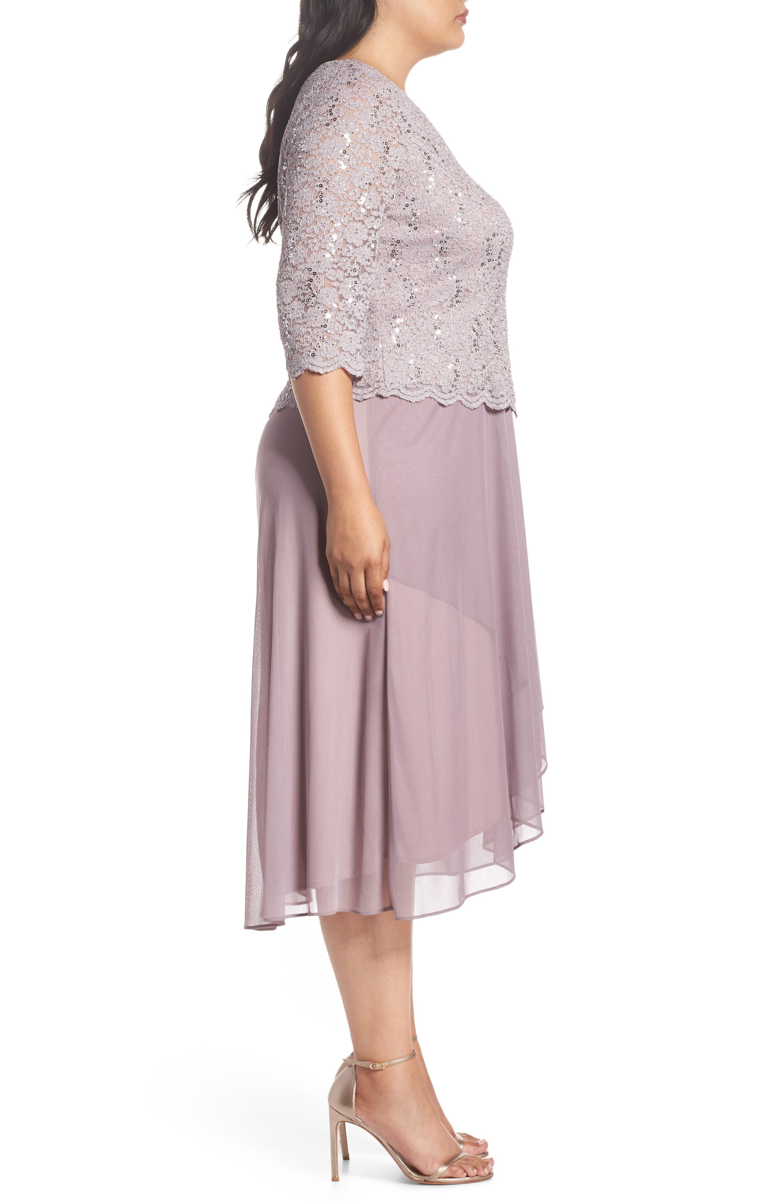 Tea Length Lace & Chiffon Mock Two-Piece Dress,                             Alternate thumbnail 3, color,                             Rose