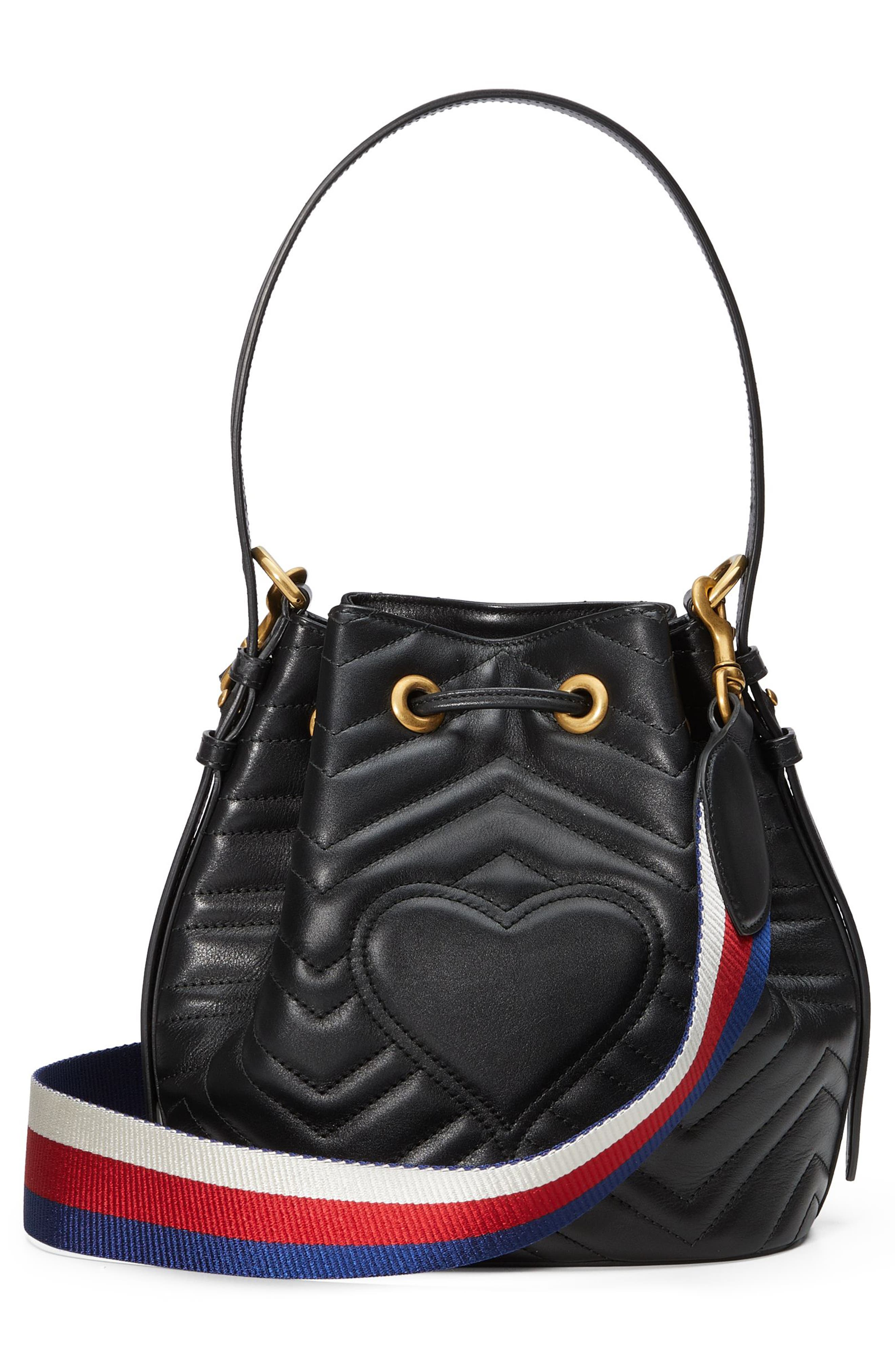 GG Marmont 2.0 Matelassé Leather Bucket Bag,                             Alternate thumbnail 2, color,                             Nero