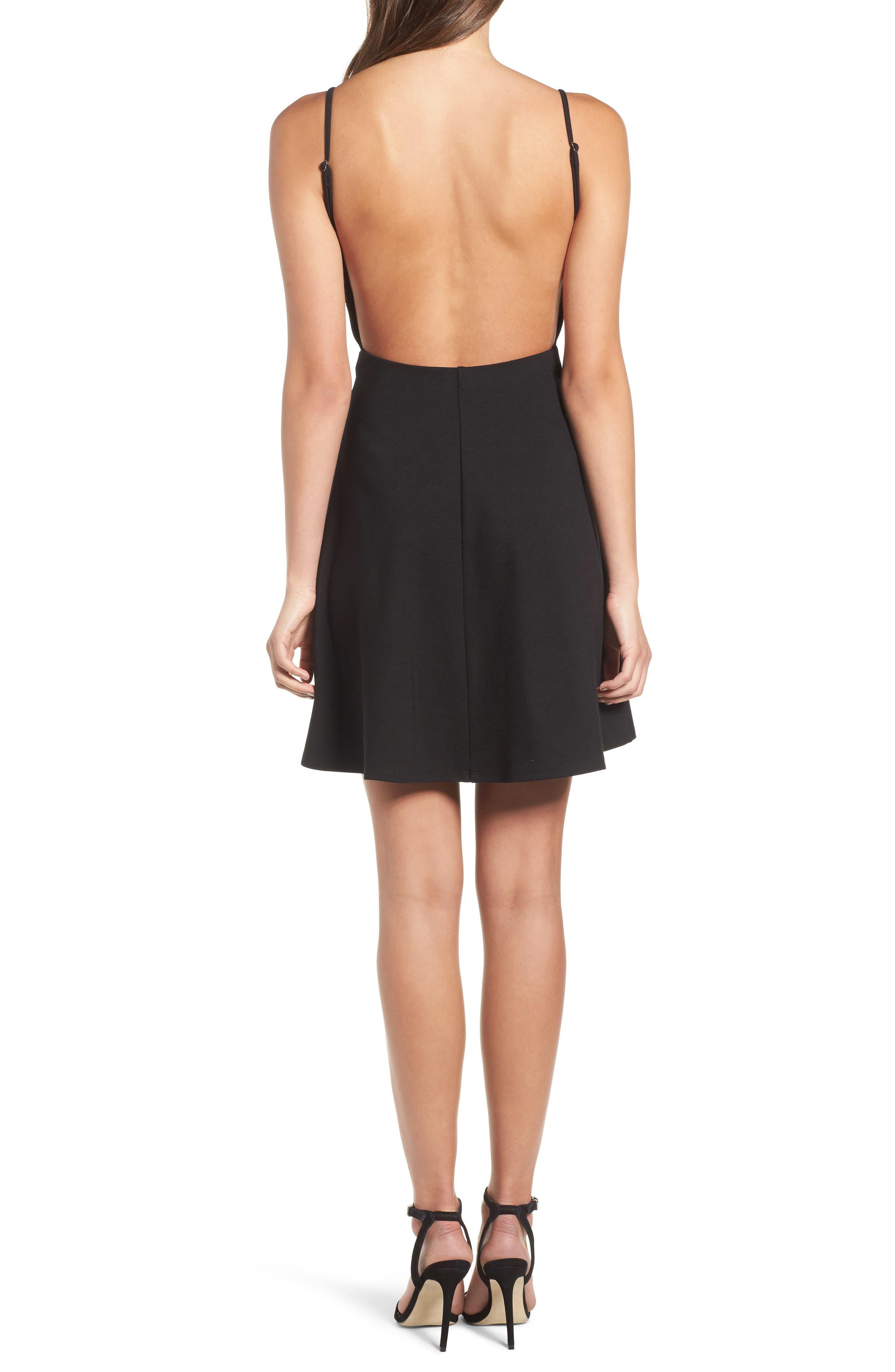 Backless Skater Dress,                             Alternate thumbnail 2, color,                             Black