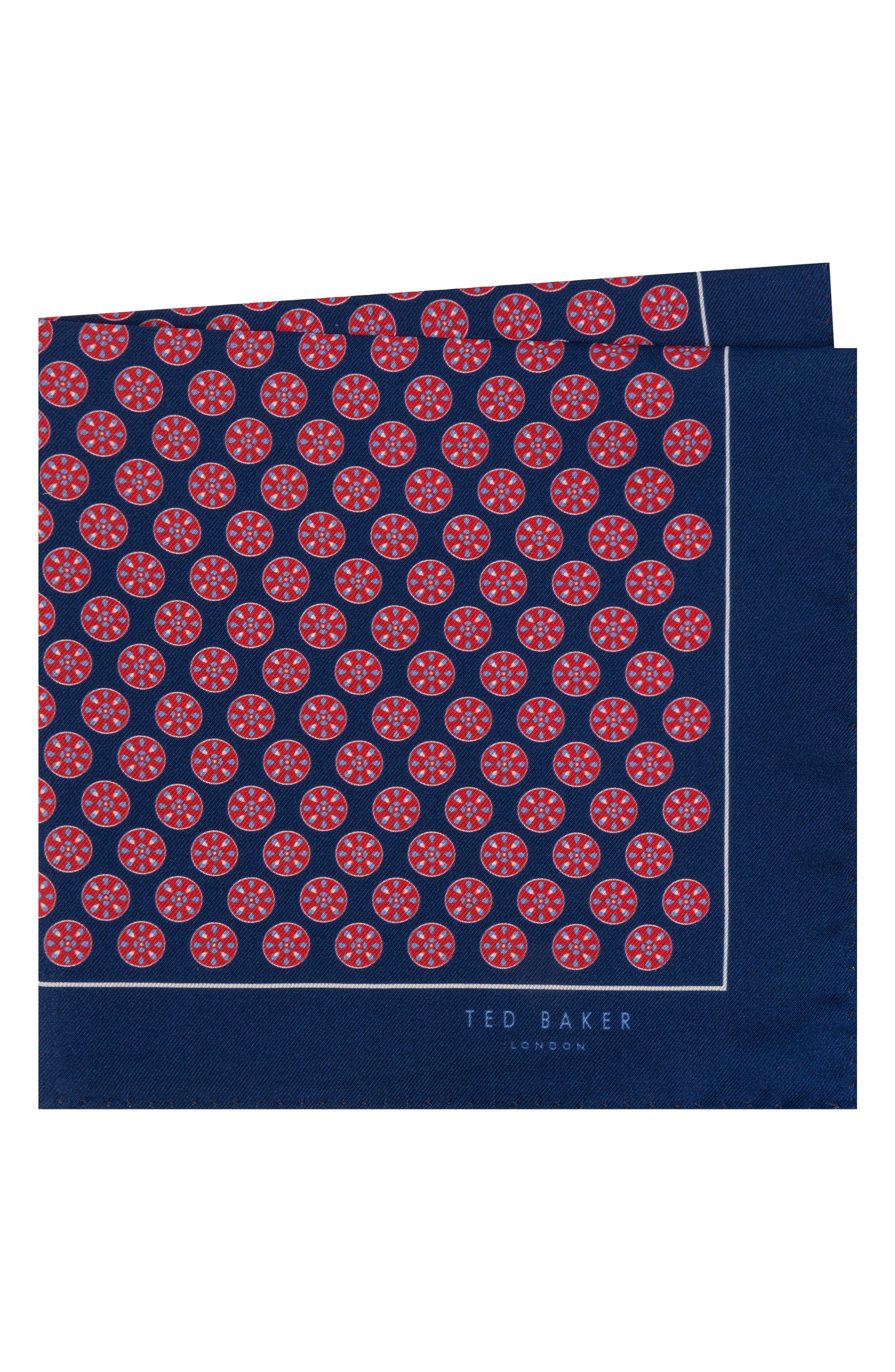 Wheel Medallion Silk Pocket Square,                             Main thumbnail 1, color,                             Red