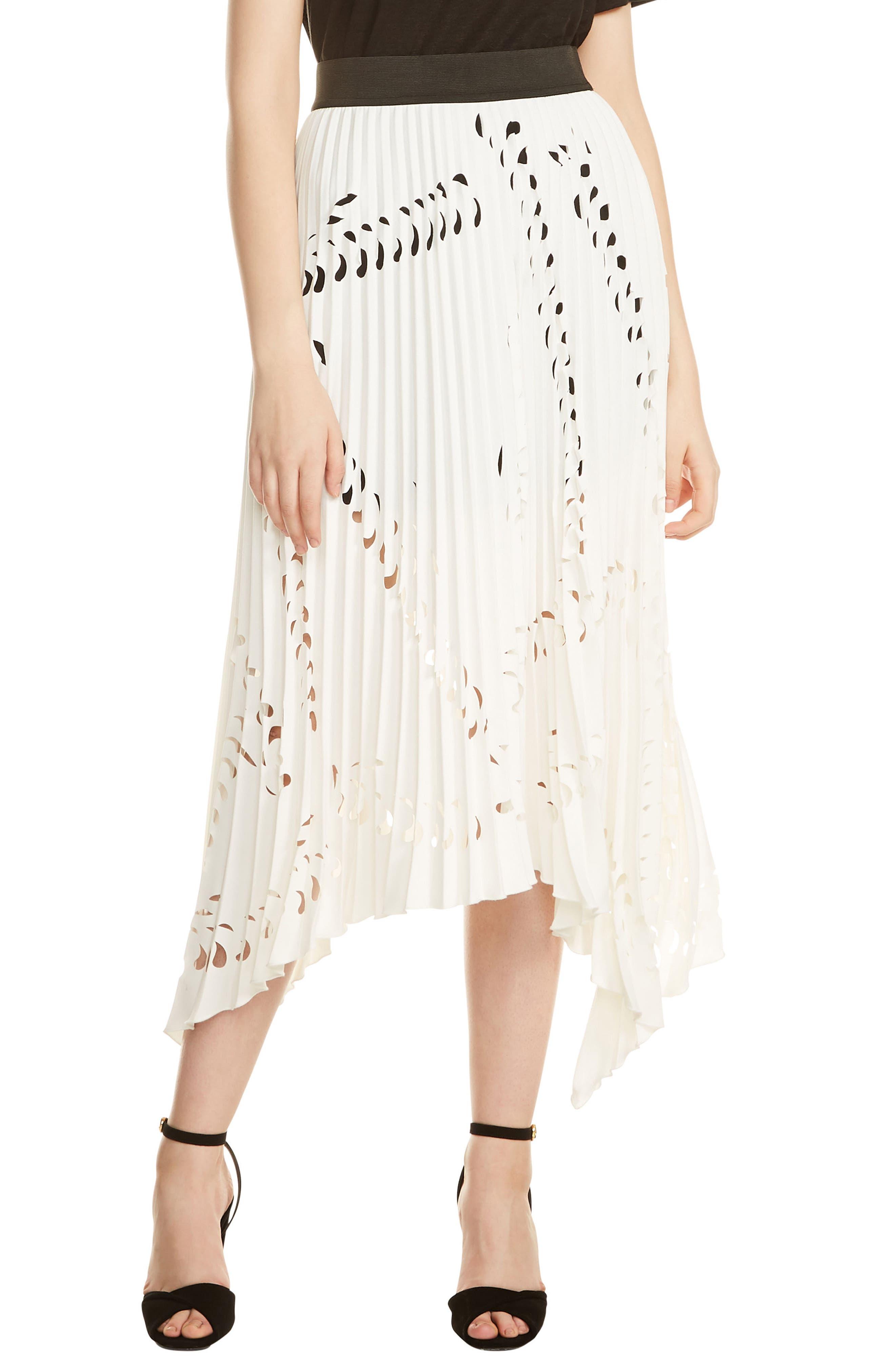 Jeflexe Cutout Pleat Midi Skirt,                             Main thumbnail 1, color,                             Blanc