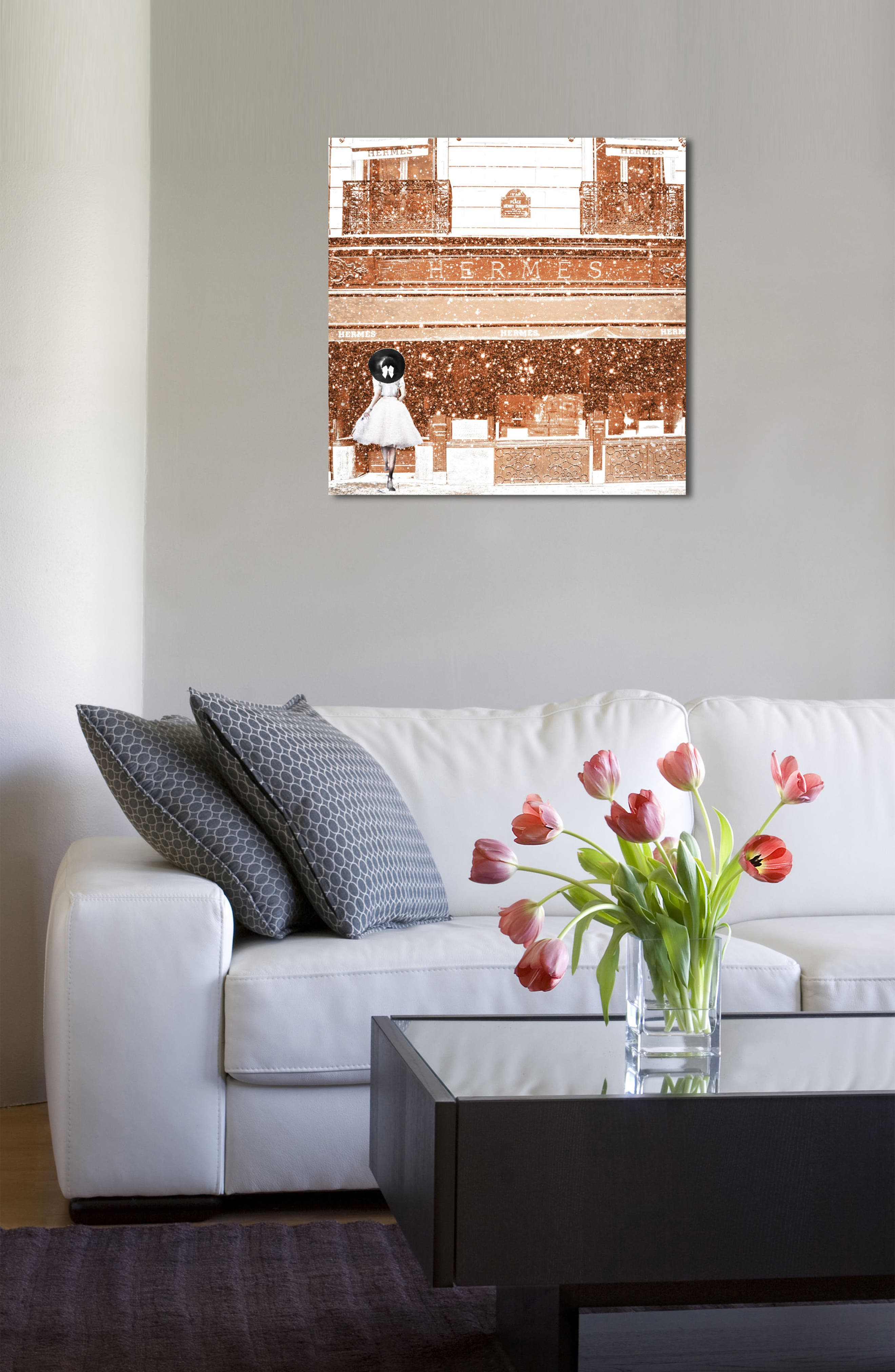French Luxe Boutique Canvas Wall Art,                             Alternate thumbnail 4, color,                             Orange