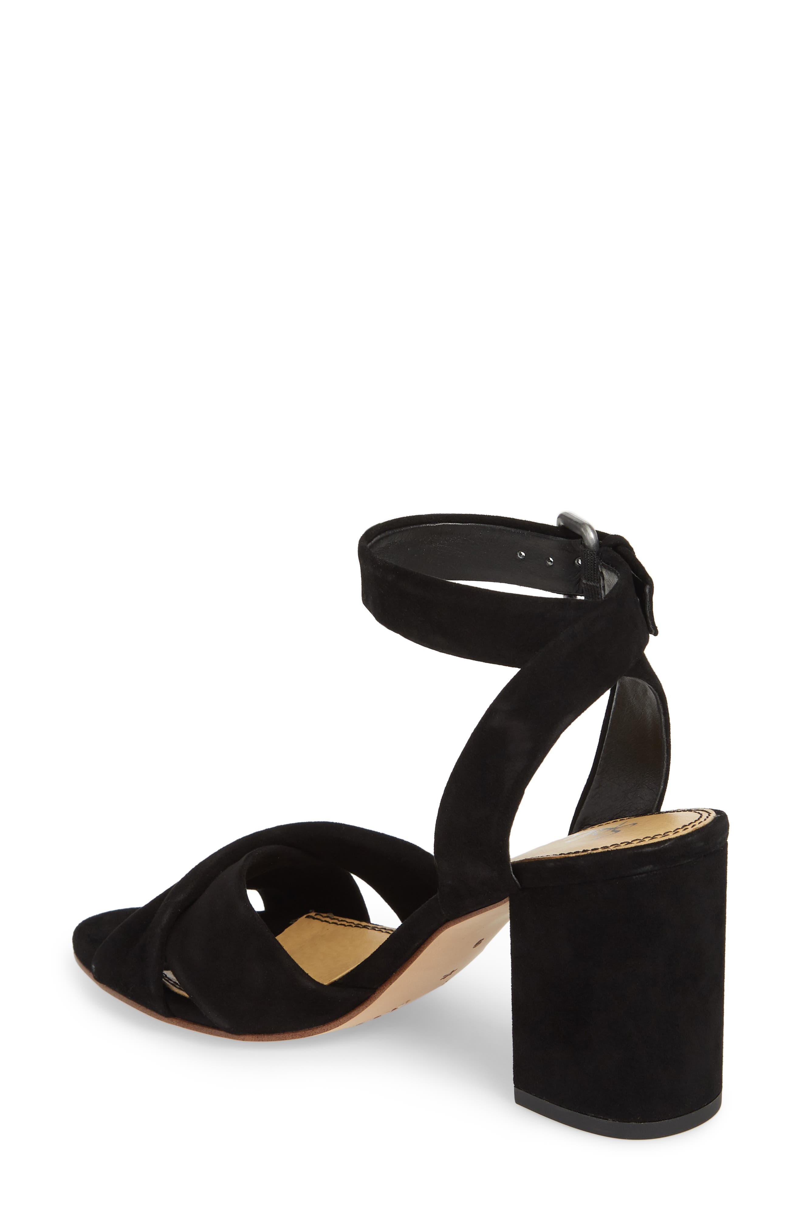 Fairy Block Heel Sandal,                             Alternate thumbnail 2, color,                             Black Suede