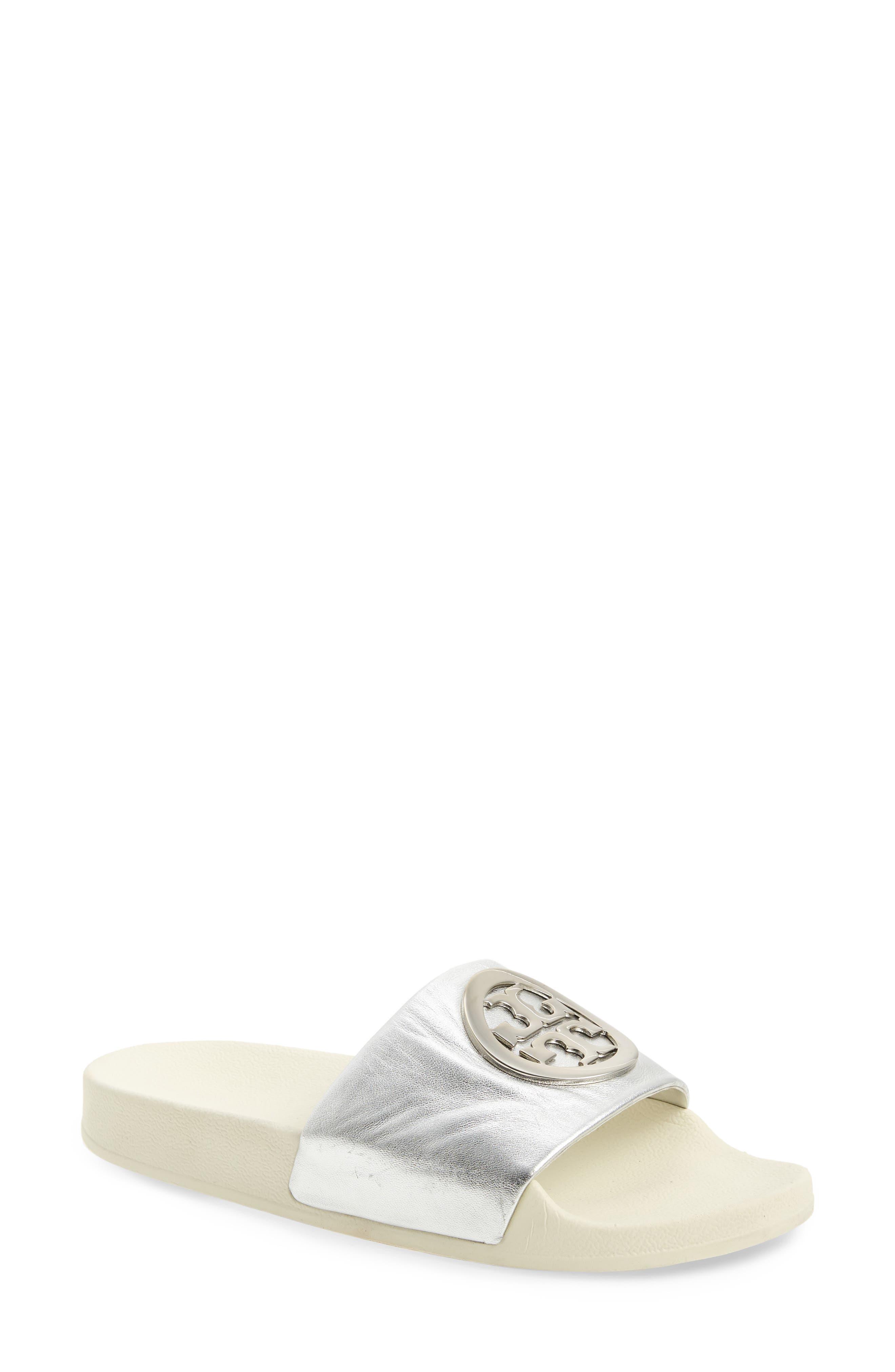 Lina Slide Sandal,                         Main,                         color, Silver