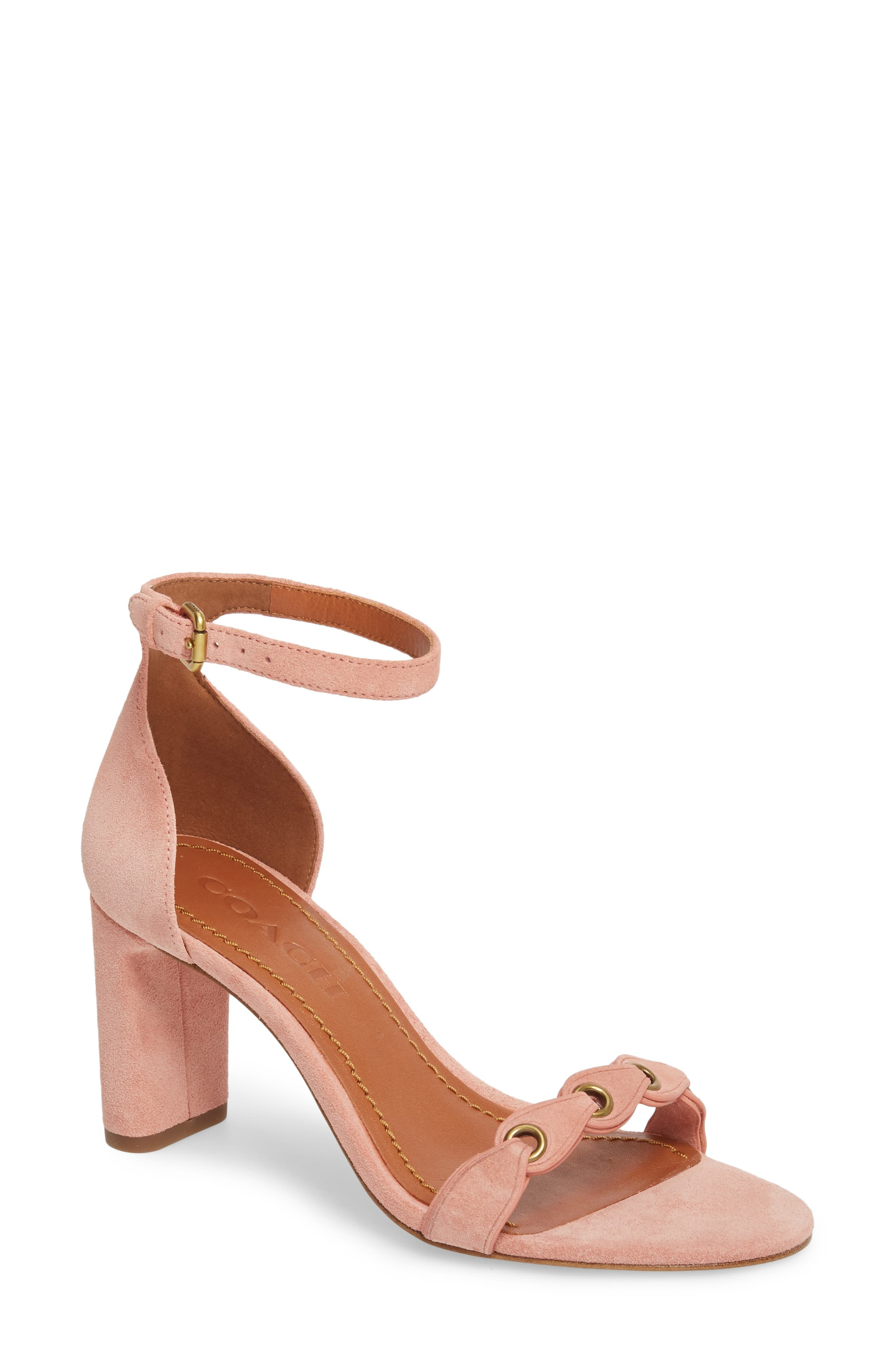 Link Strap Sandal,                         Main,                         color, Peony Leather
