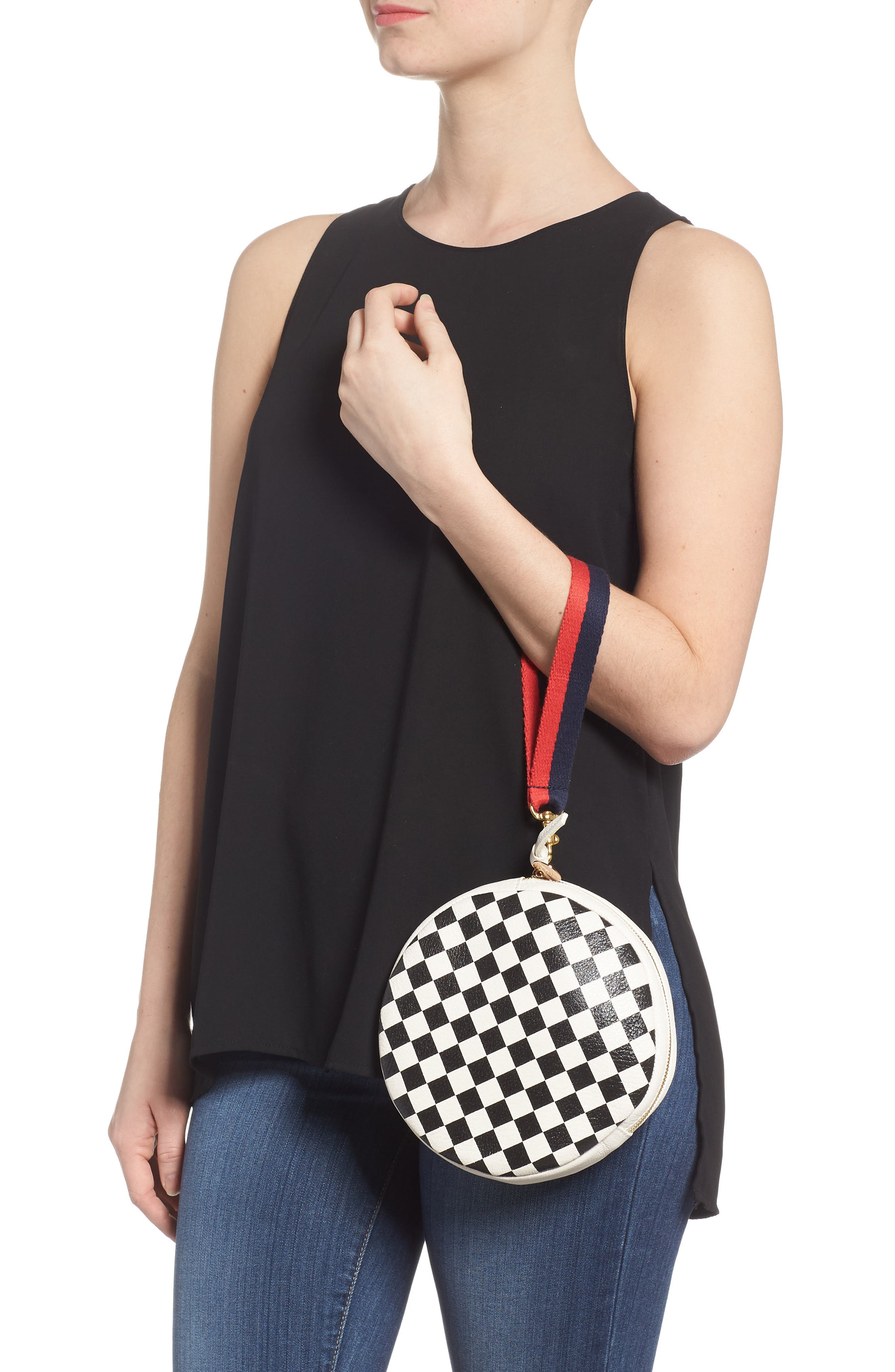 Checkered Leather Circle Clutch,                             Alternate thumbnail 2, color,                             Cream/ Black Checker