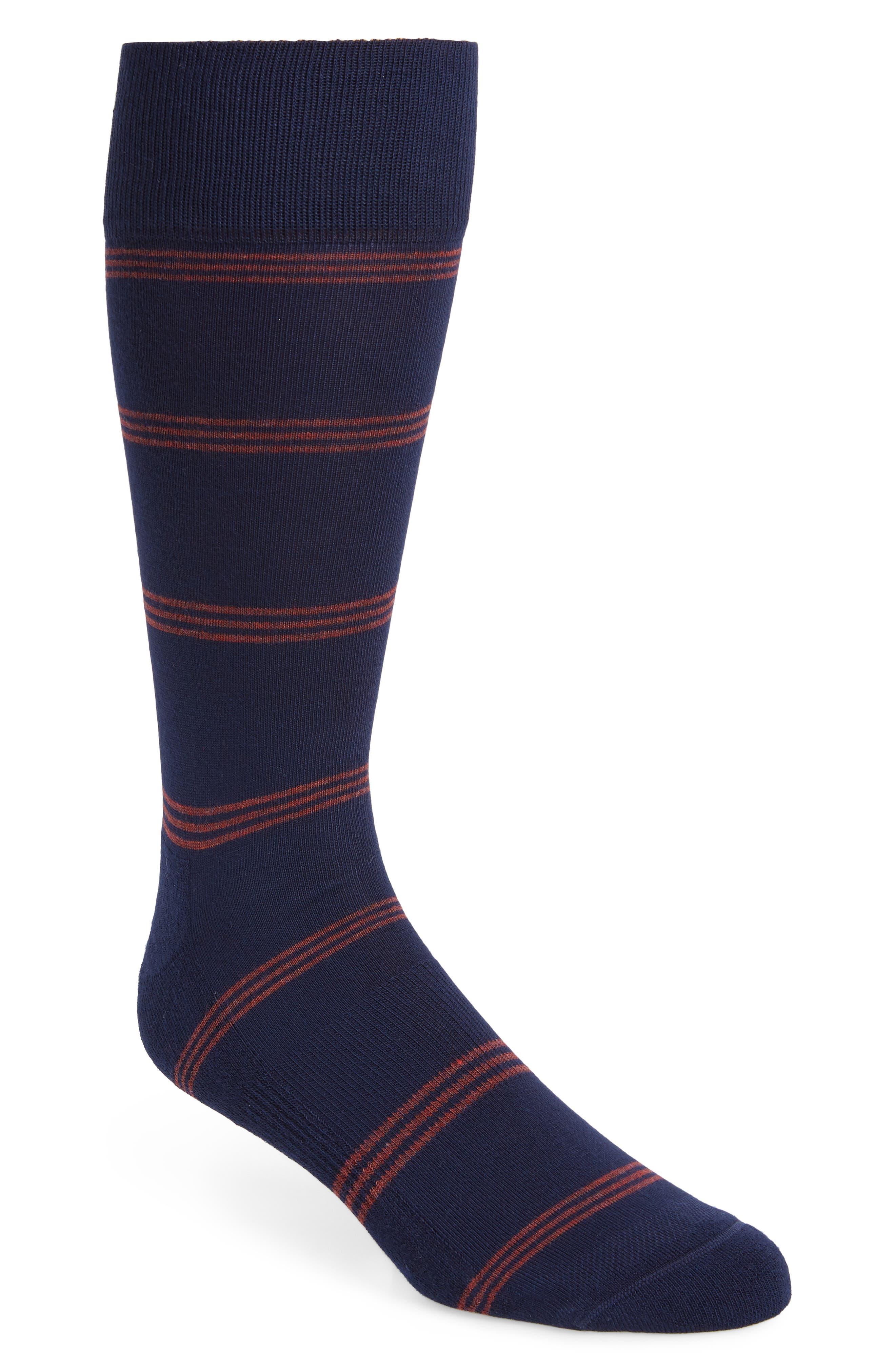 Triple Line Socks,                         Main,                         color, Navy/ Red