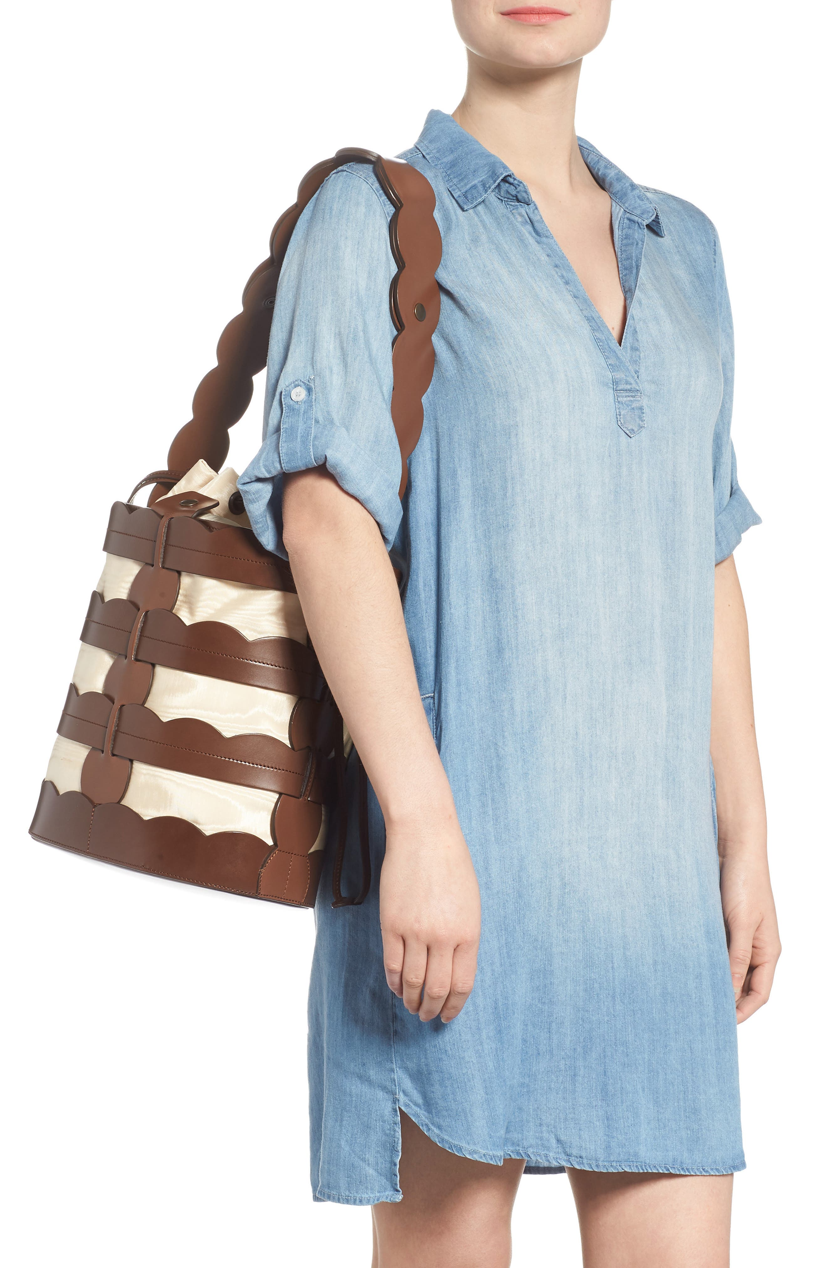 Scallop Hesse Leather Bucket Bag,                             Alternate thumbnail 2, color,                             Tobacco