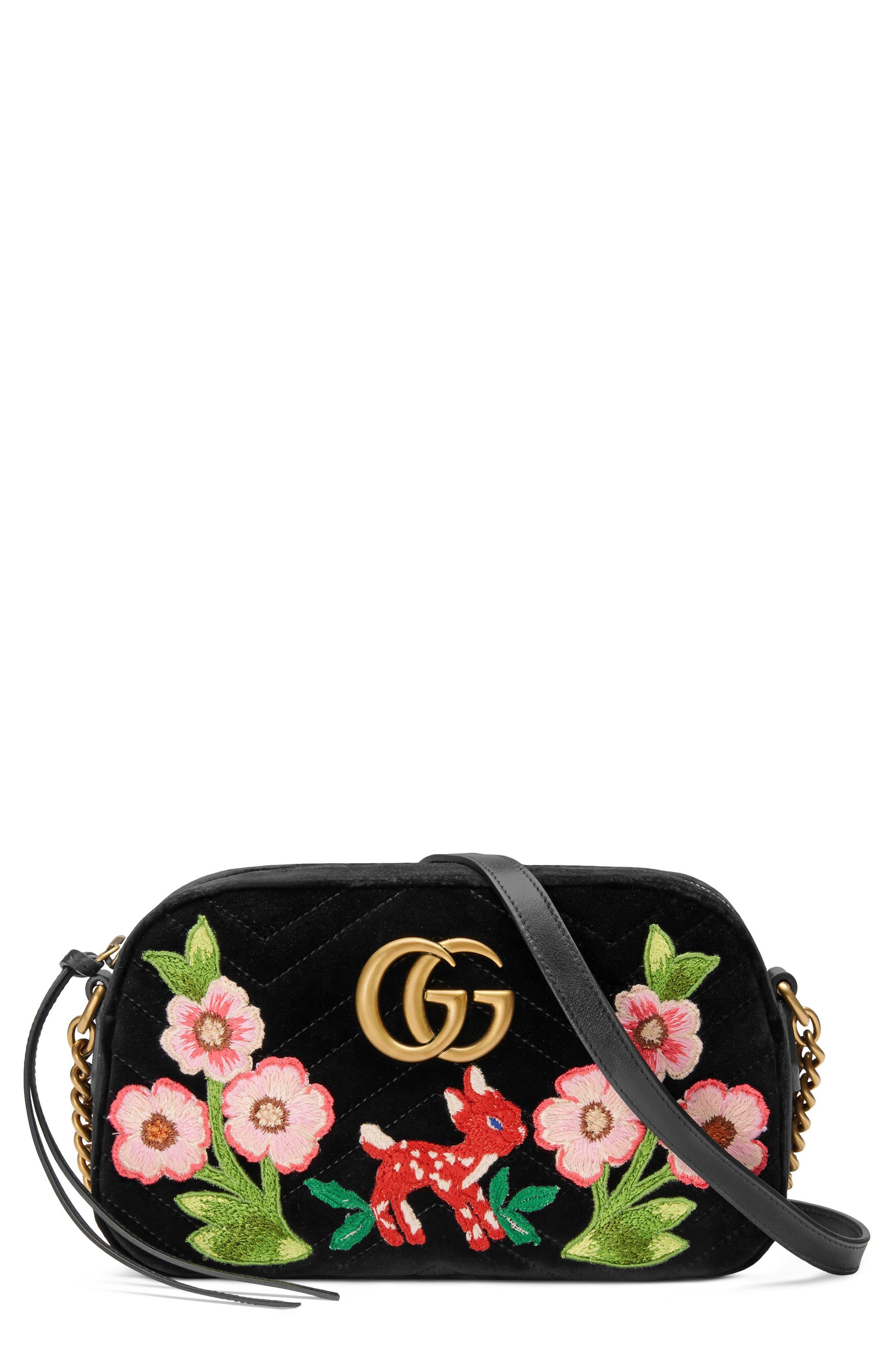 Small GG Marmont 2.0 Matelassé Velvet Shoulder Bag,                             Main thumbnail 1, color,                             Nero/ Nero Multi
