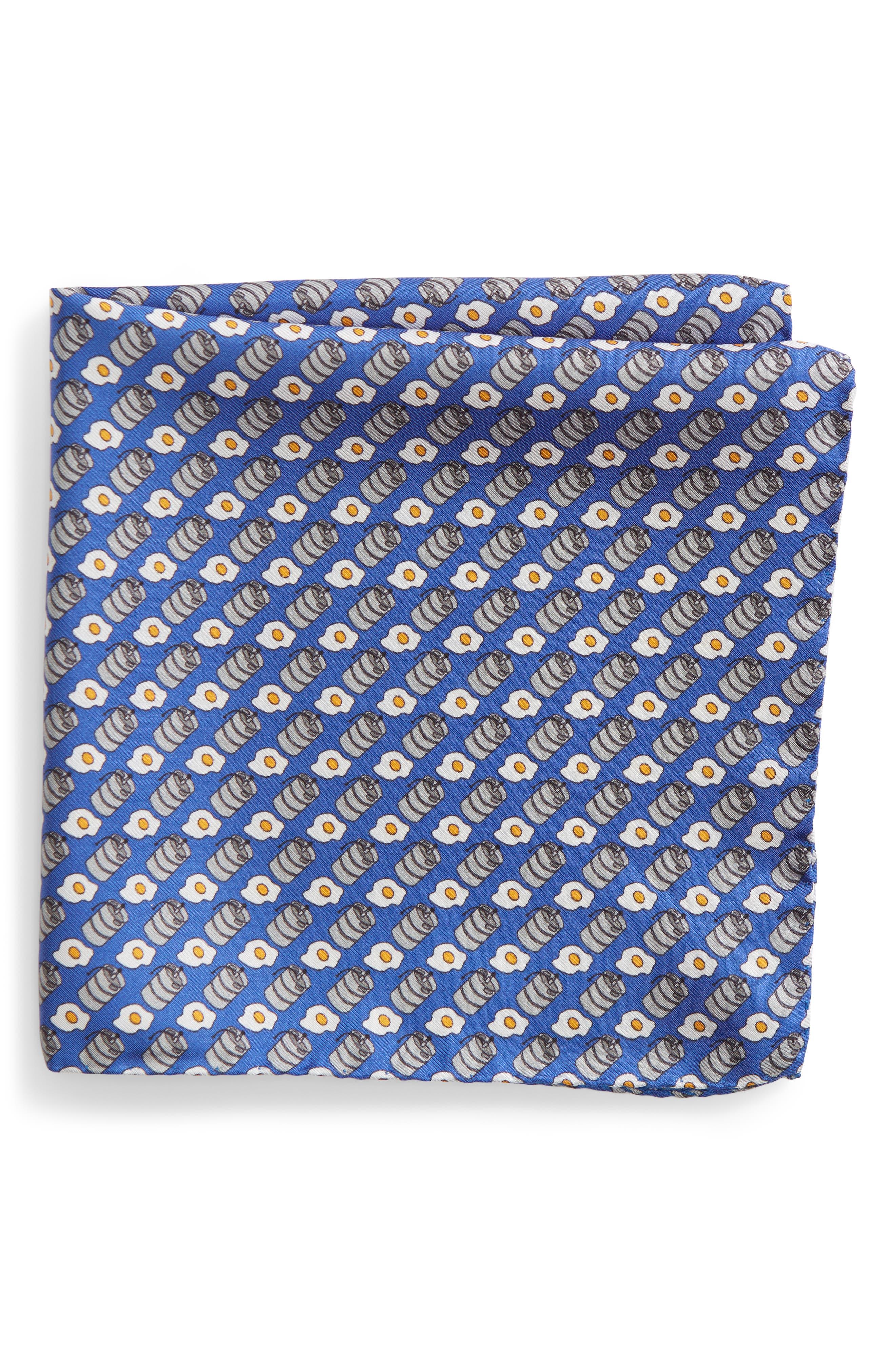 Kegs & Eggs Silk Pocket Square,                         Main,                         color, Blue