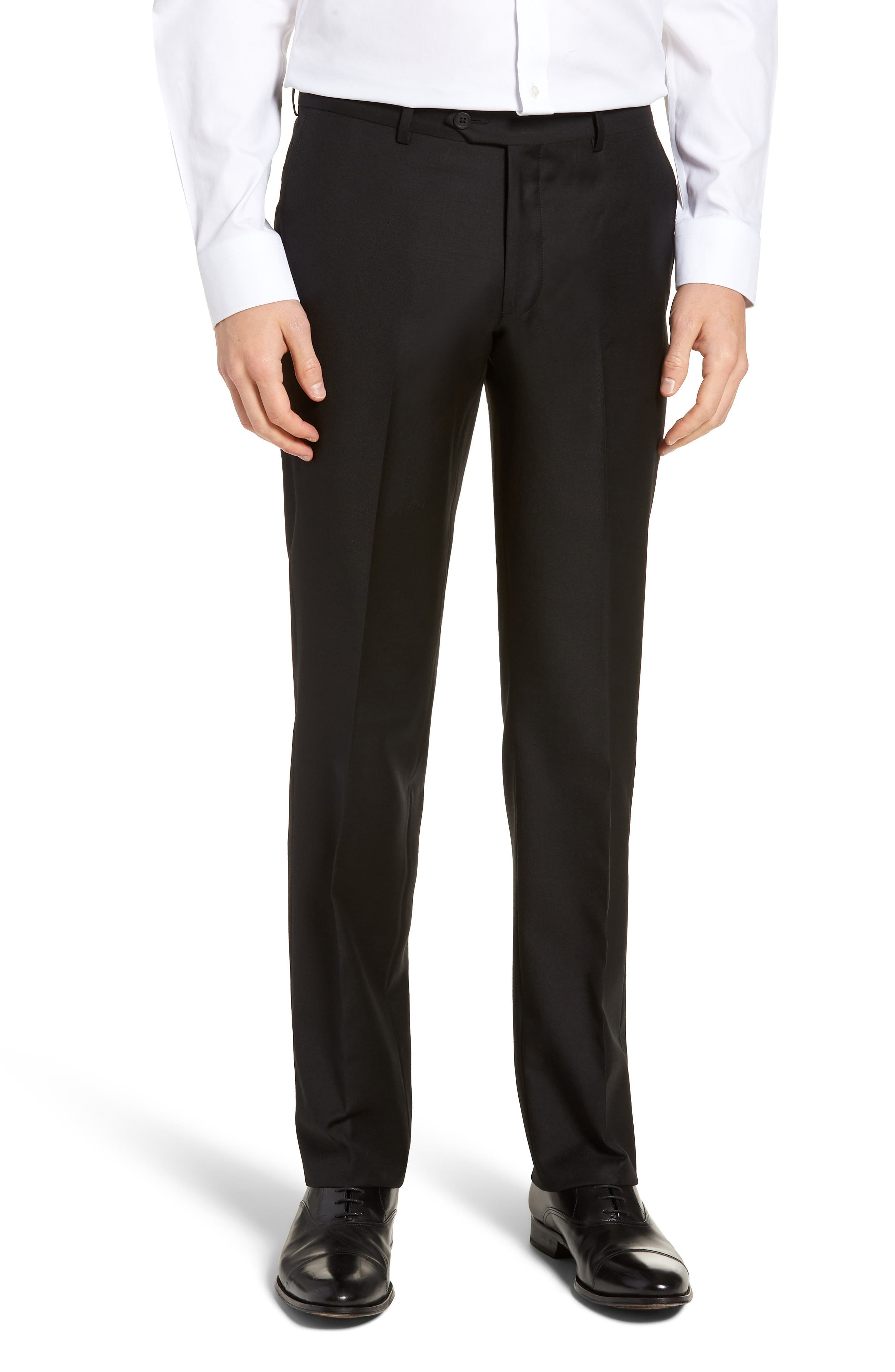 Nordstrom Men's Shop Flat Front Lightweight Wool Trousers