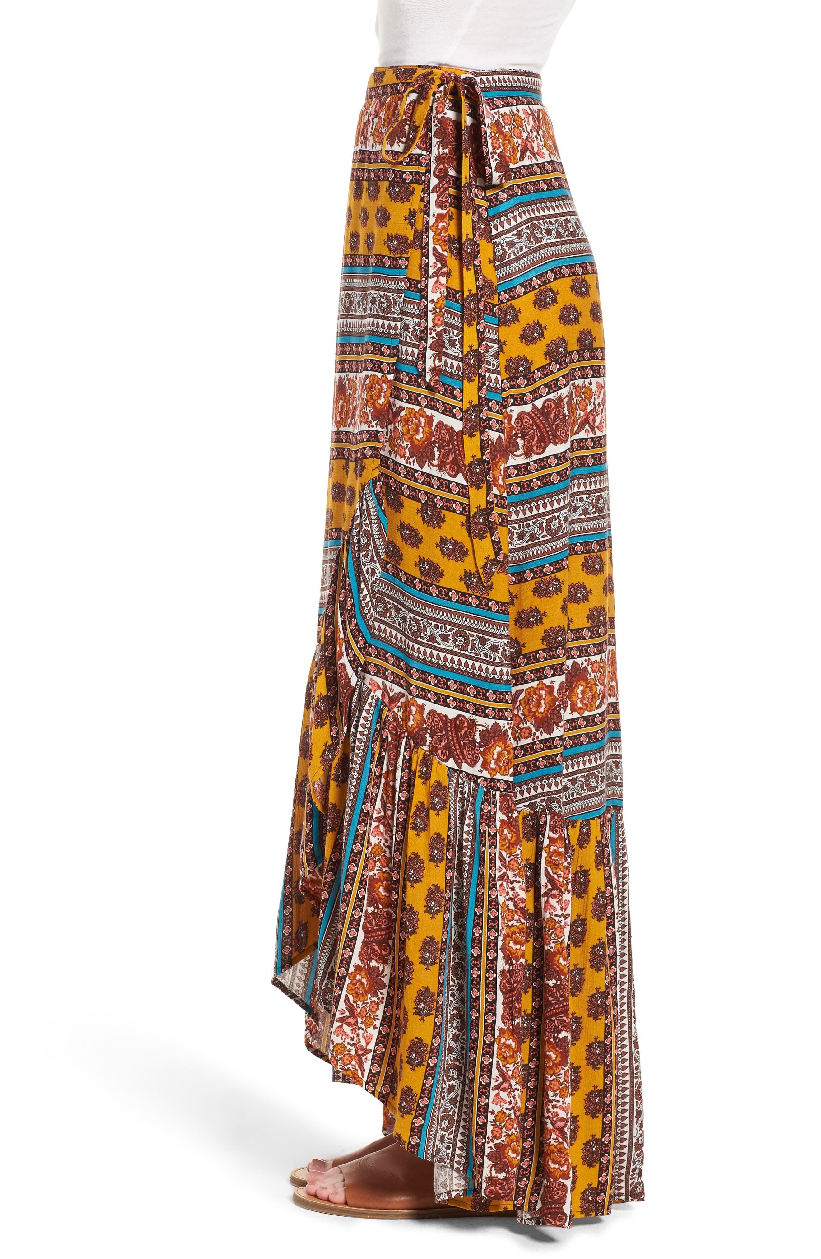 Geo Stripe Wrap Skirt,                             Alternate thumbnail 3, color,                             Gold/ Teal