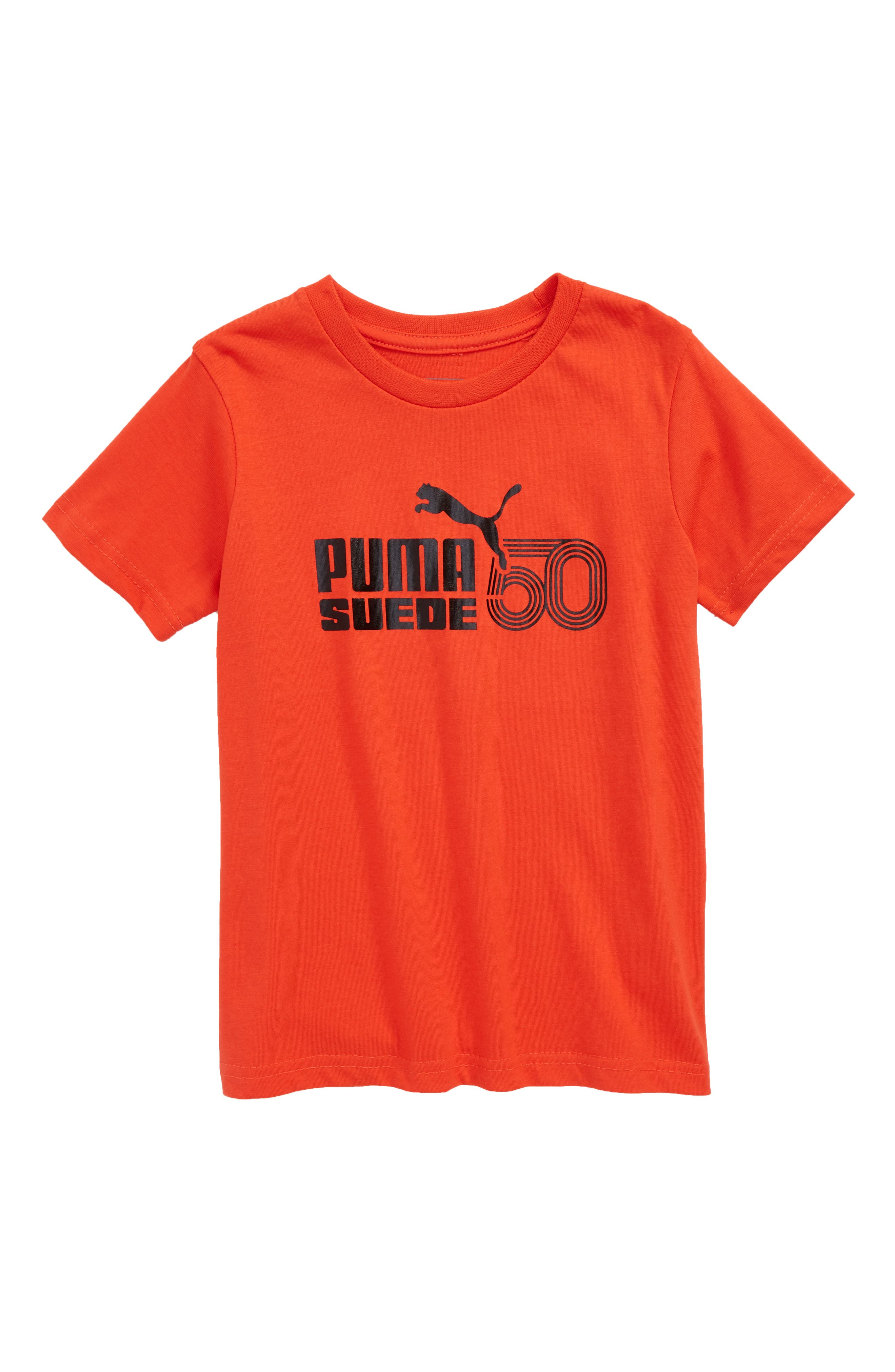 Suede 50th Anniversary Logo T-Shirt,                         Main,                         color, Flame Scarlet