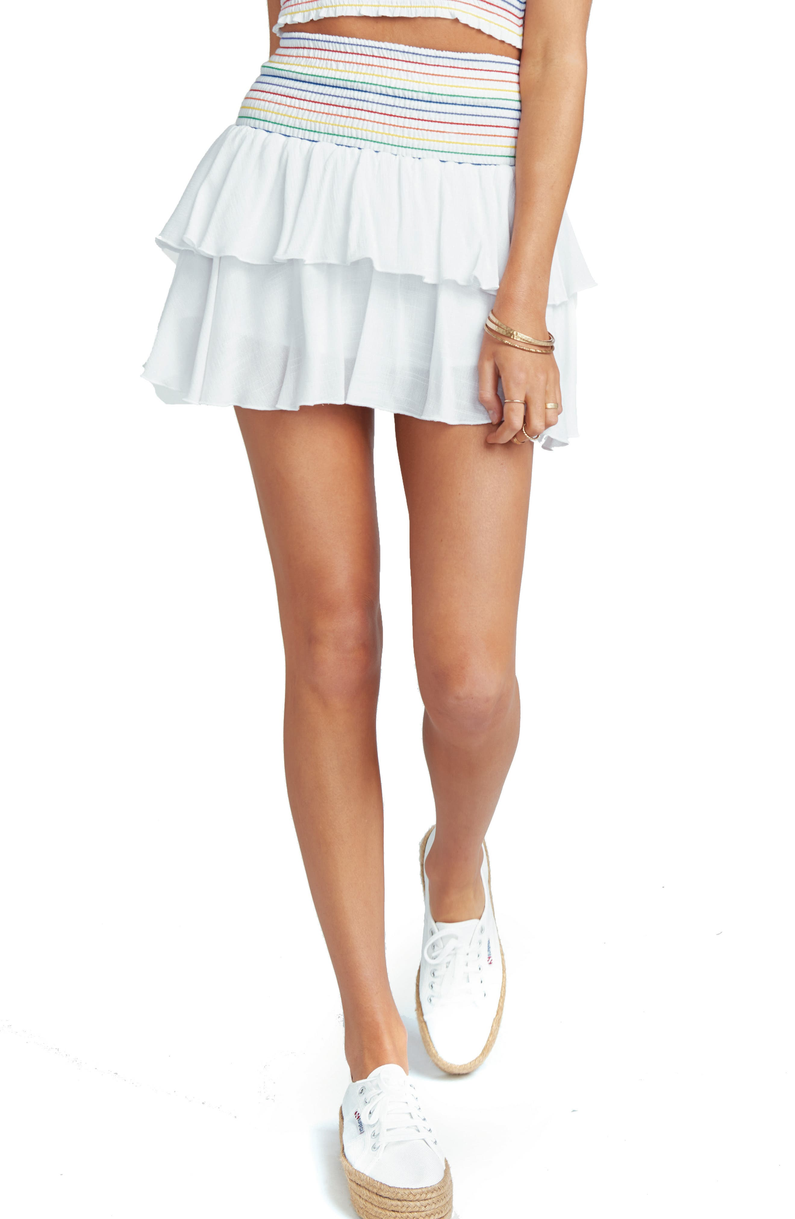 Frolick Ruffle Skort,                             Main thumbnail 1, color,                             White Cruise With Rainbow