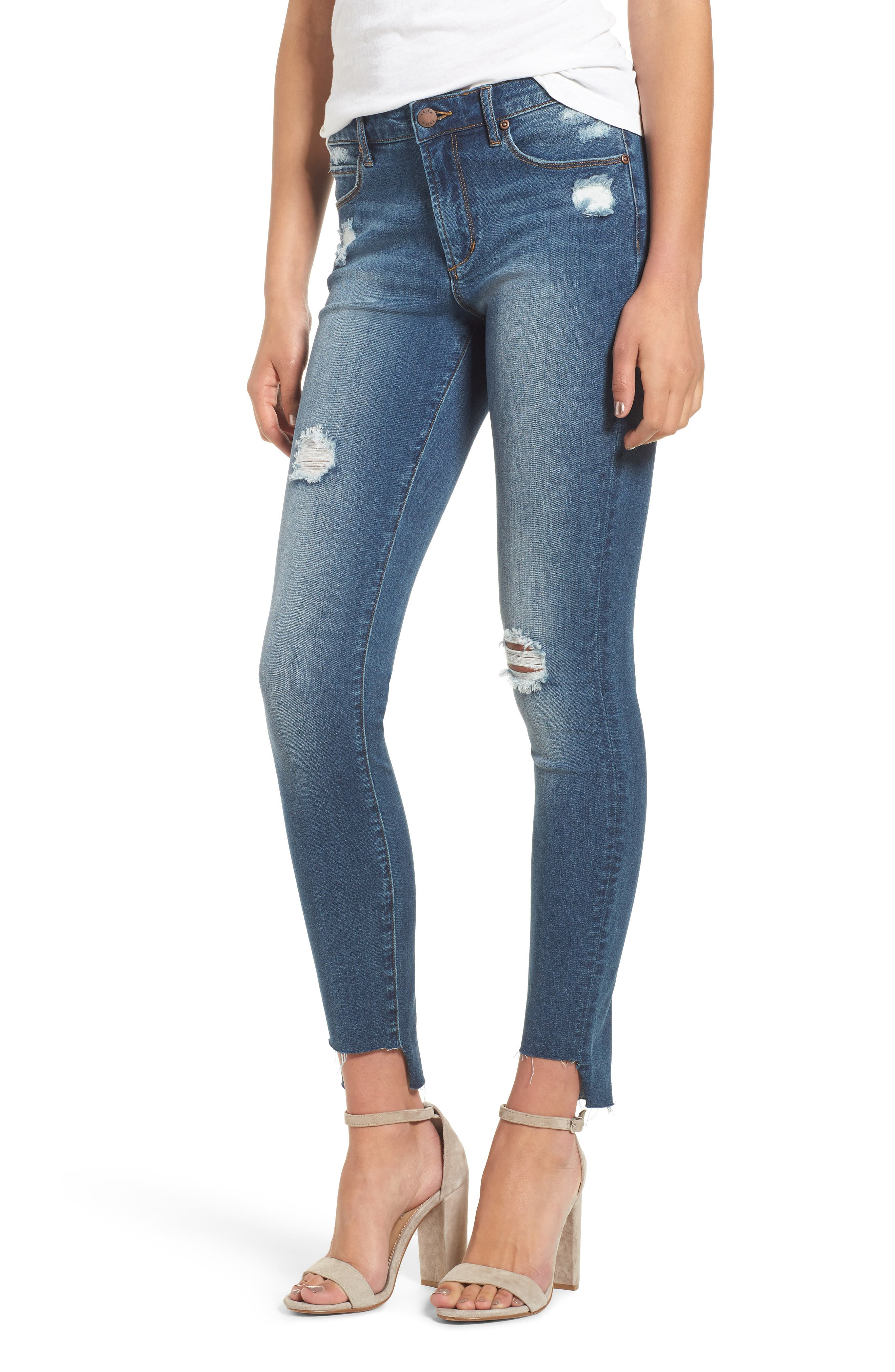 Ripped Step Hem Skinny Jeans,                         Main,                         color, Medium Wash