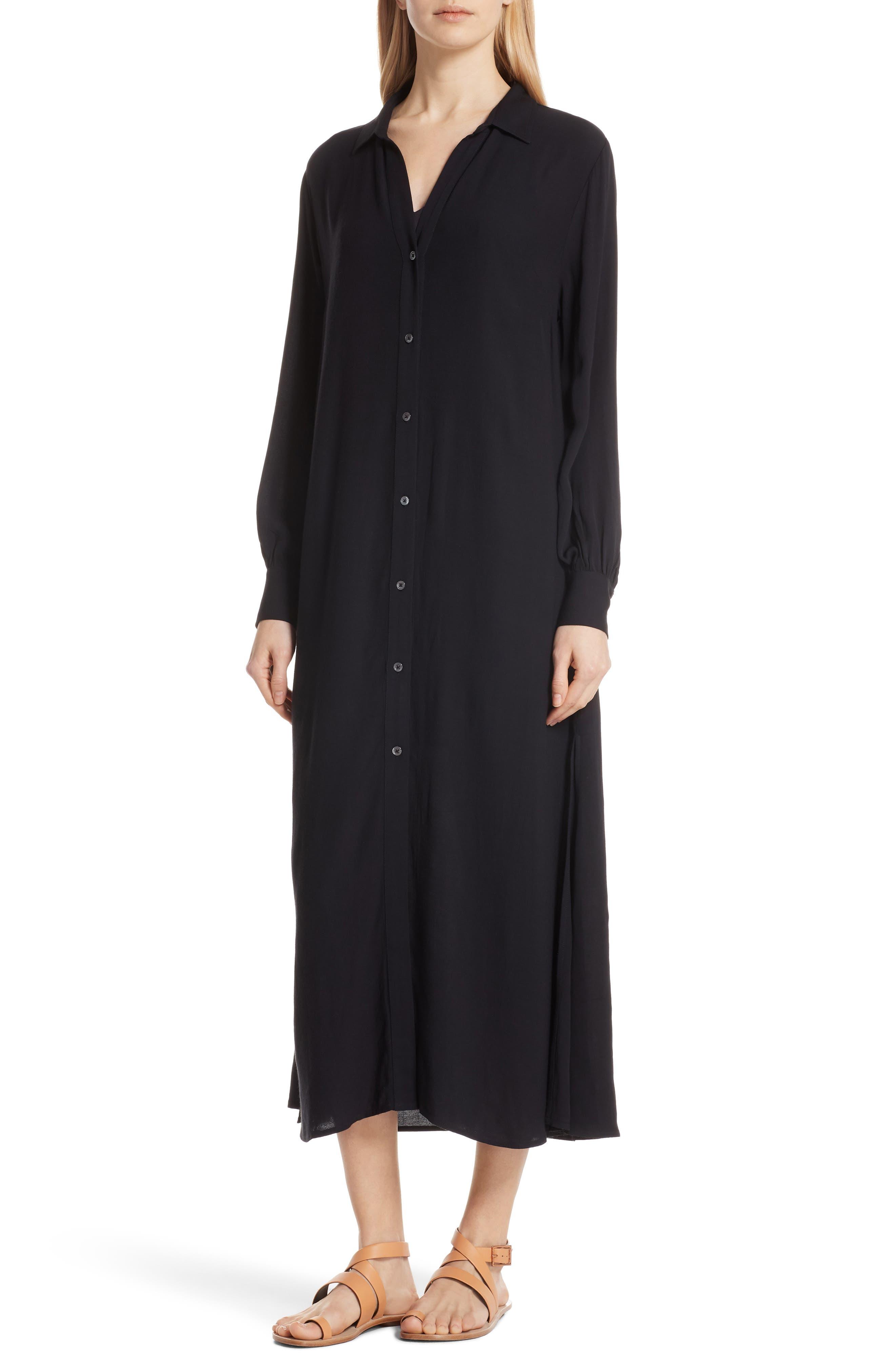 Maxi Shirtdress,                             Main thumbnail 1, color,                             Noir