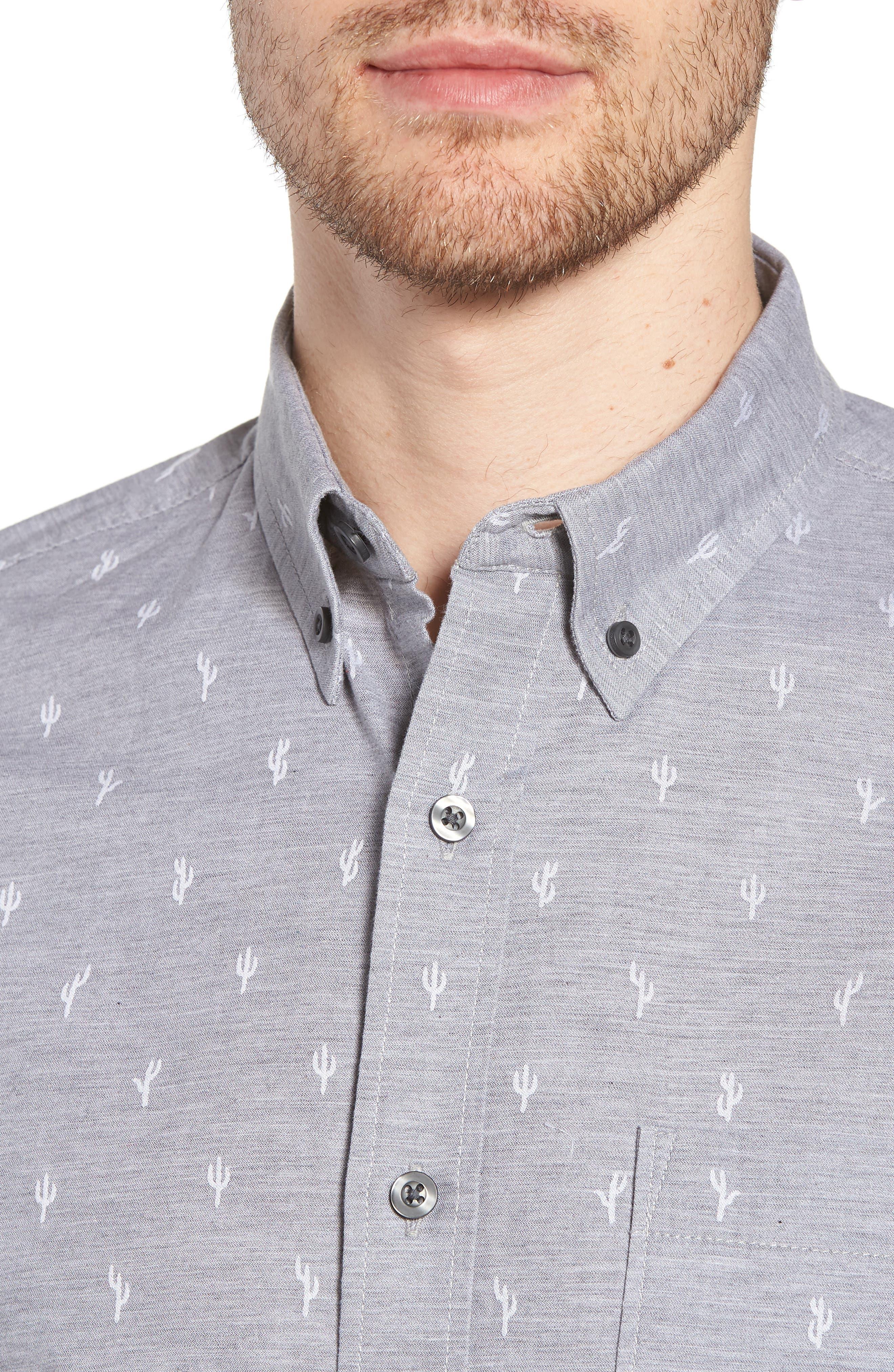 Cactus Print Dobby Sport Shirt,                             Alternate thumbnail 2, color,                             Grey Weather Cactus Dobby