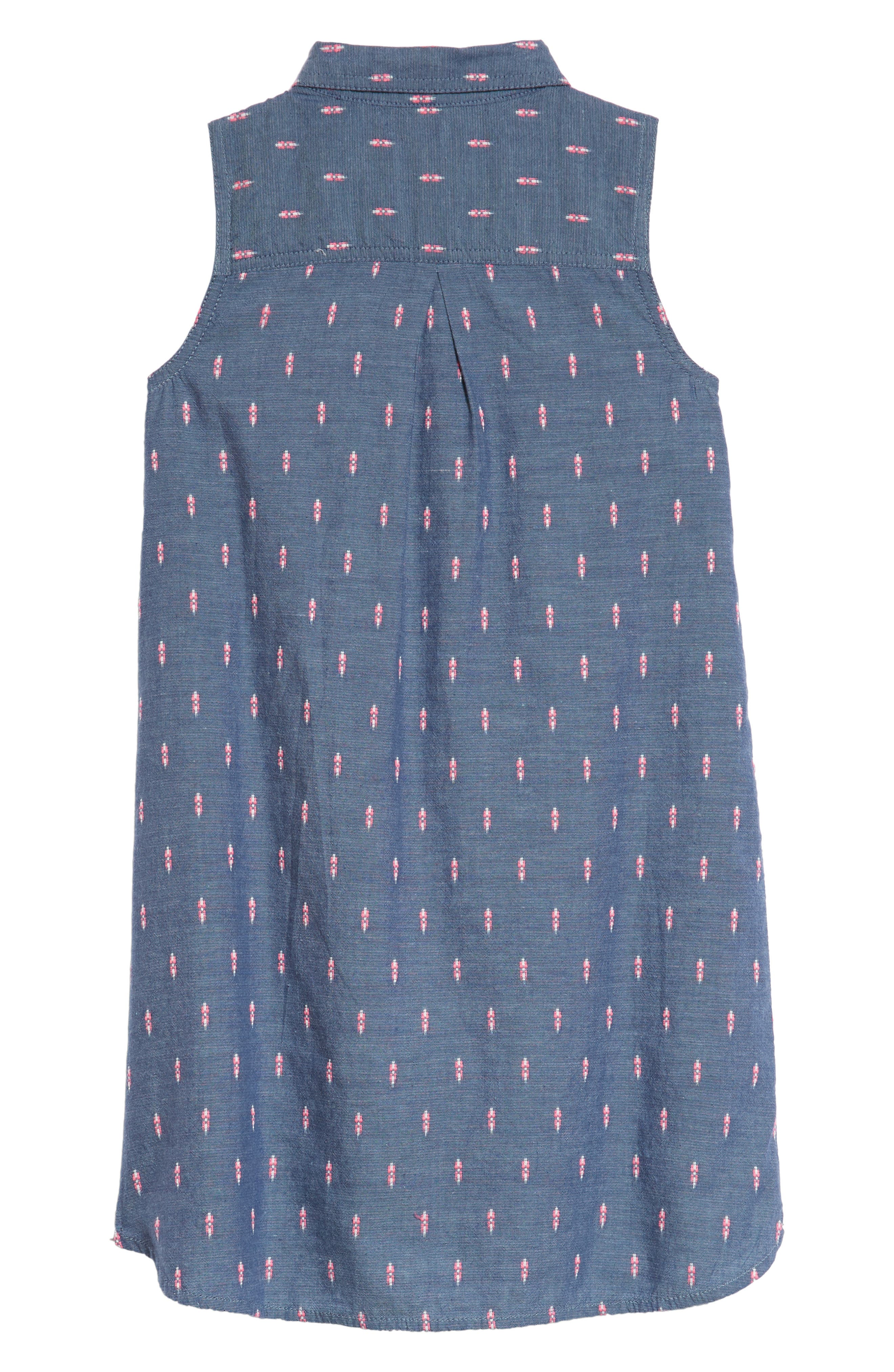 Sleeveless Shirtdress,                             Alternate thumbnail 2, color,                             Blue Chinoise