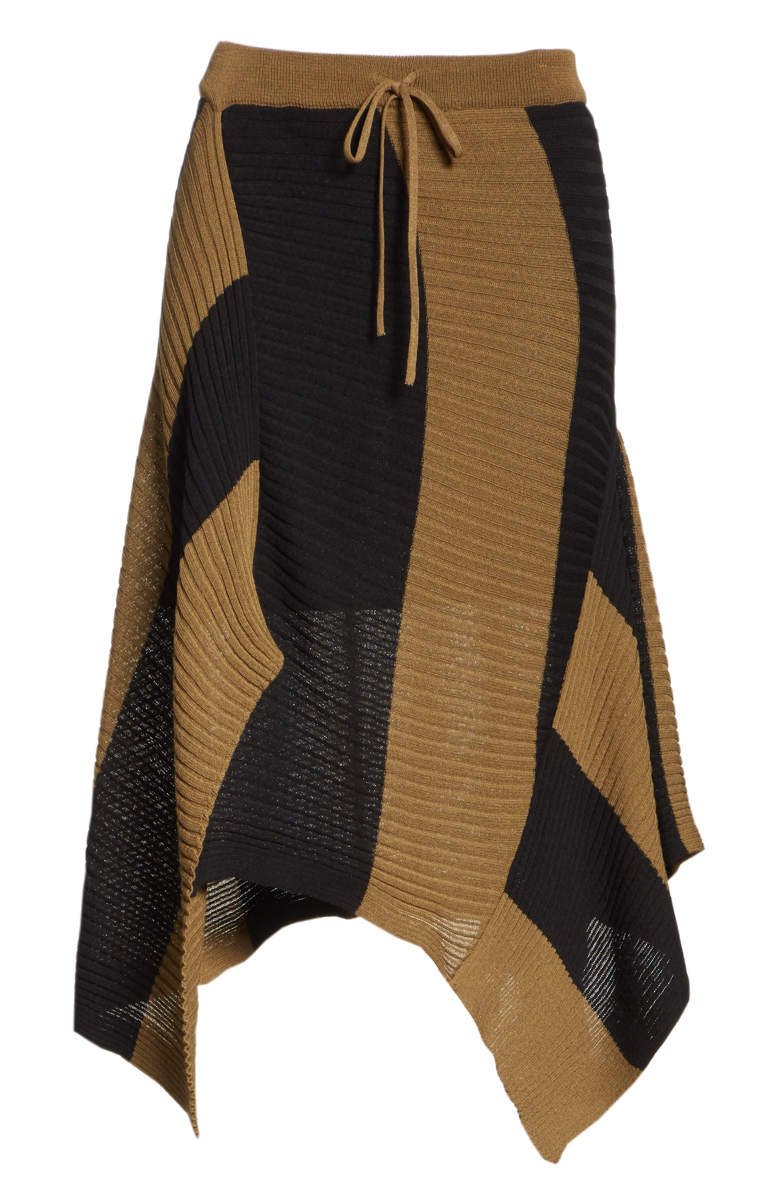 Marques'Almeida Draped Skirt,                             Alternate thumbnail 7, color,                             Khaki/ Black