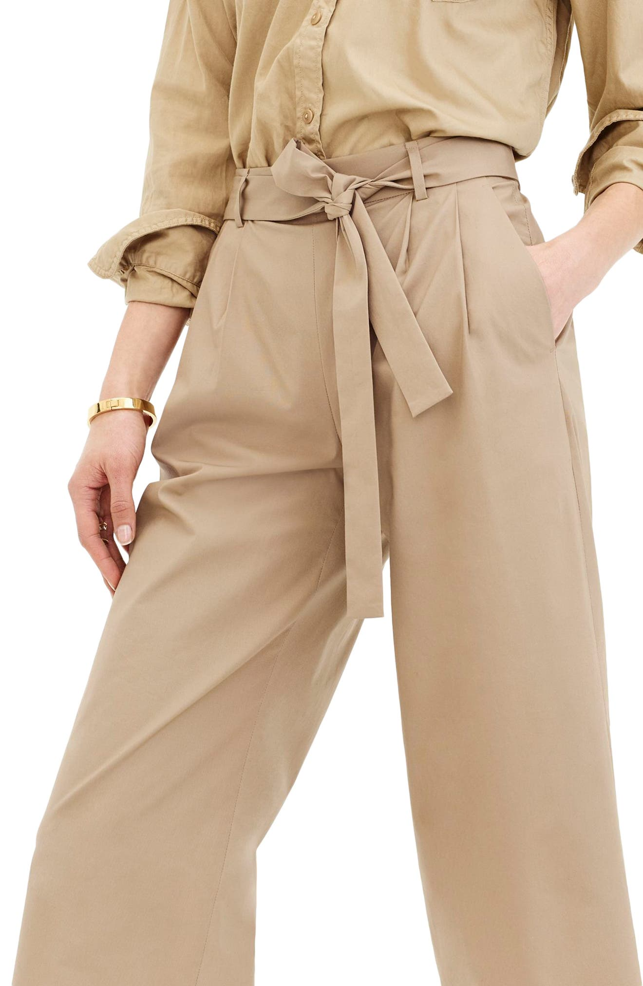 Wide Leg Stretch Cotton Poplin Crop Pants,                             Alternate thumbnail 3, color,                             Dusty Khaki