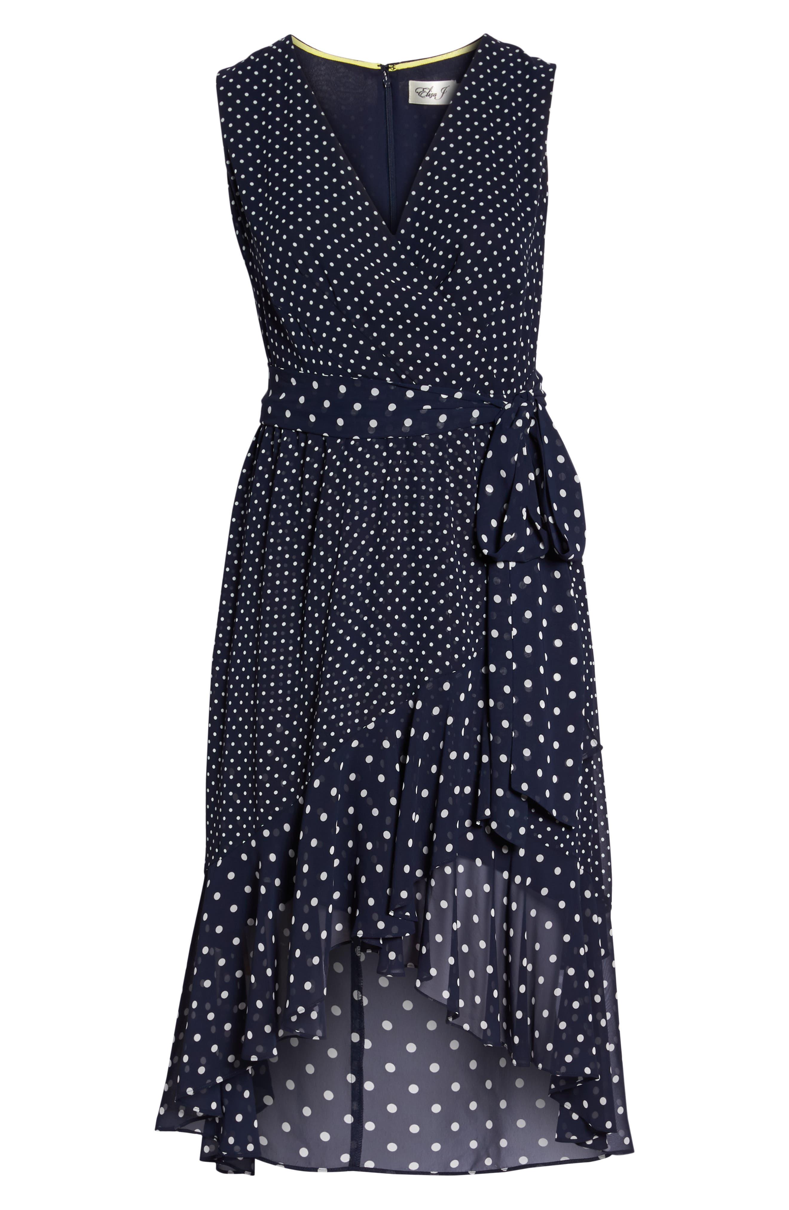 Polka Dot High/Low Hem Dress,                             Alternate thumbnail 7, color,                             Navy/ Ivory
