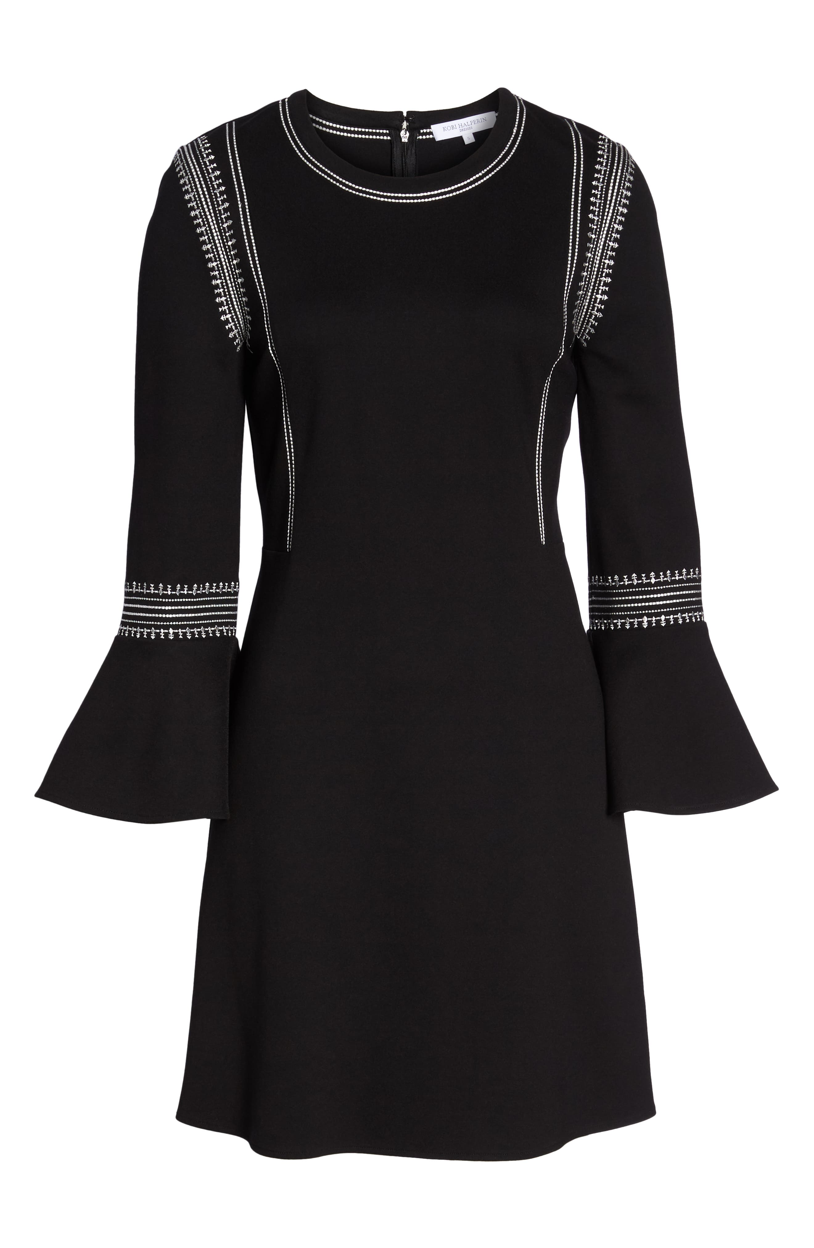 Danielle Embroidered Bell Sleeve Knit Dress,                             Alternate thumbnail 6, color,                             Black