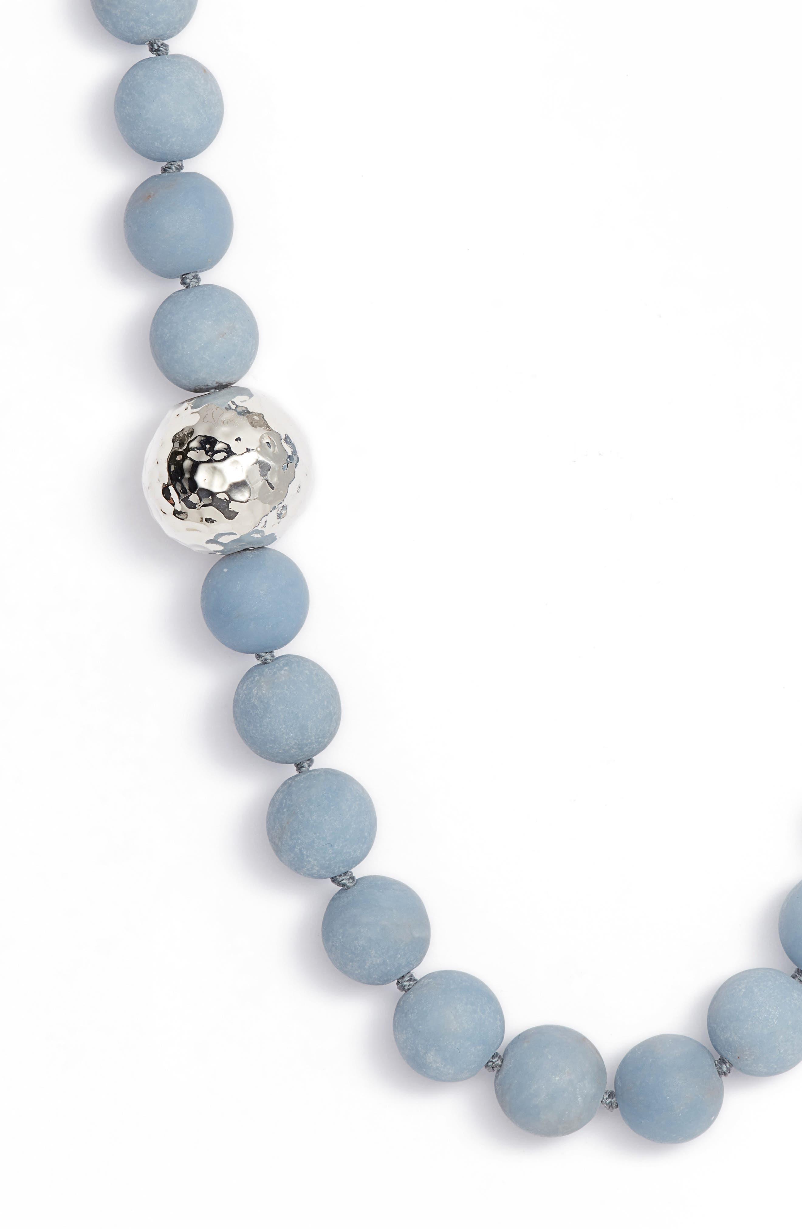 Matte Angelite Necklace,                             Alternate thumbnail 2, color,                             Blue/ Silver