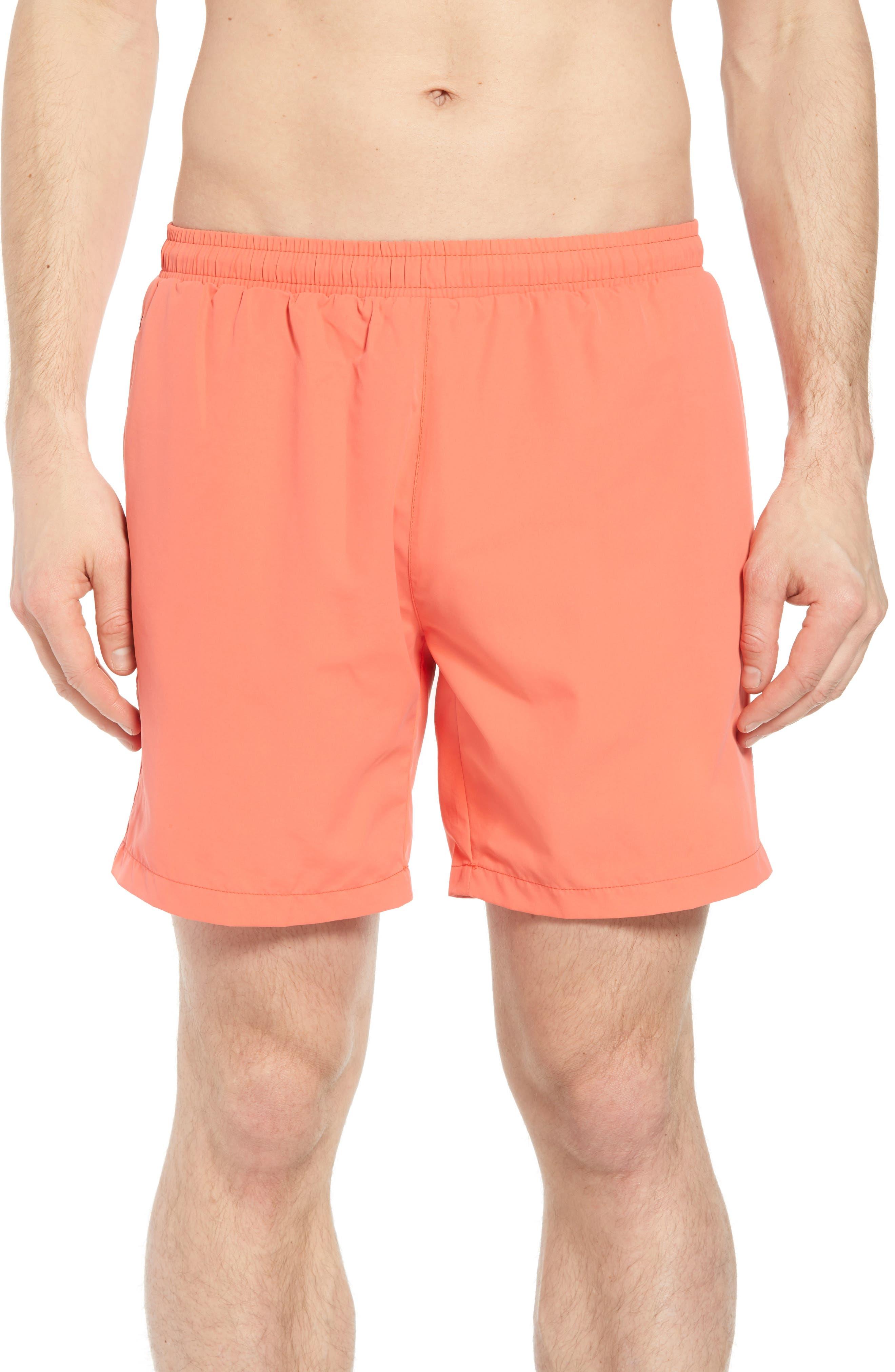 Seabream Regular Fit Stripe Swim Trunks,                         Main,                         color, Pink
