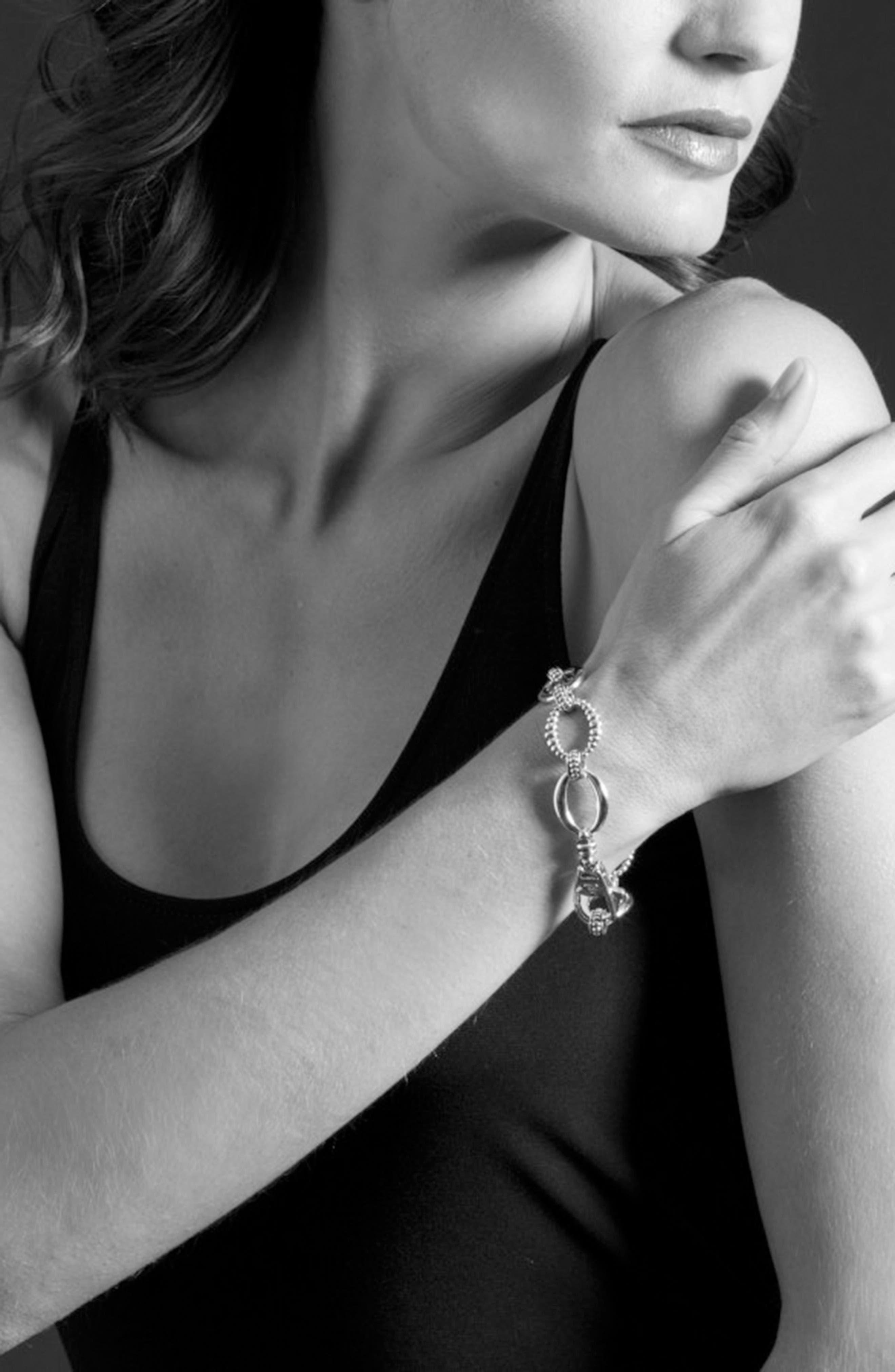 'Link' Sterling Silver Oval Link Bracelet,                             Alternate thumbnail 3, color,                             Sterling Silver
