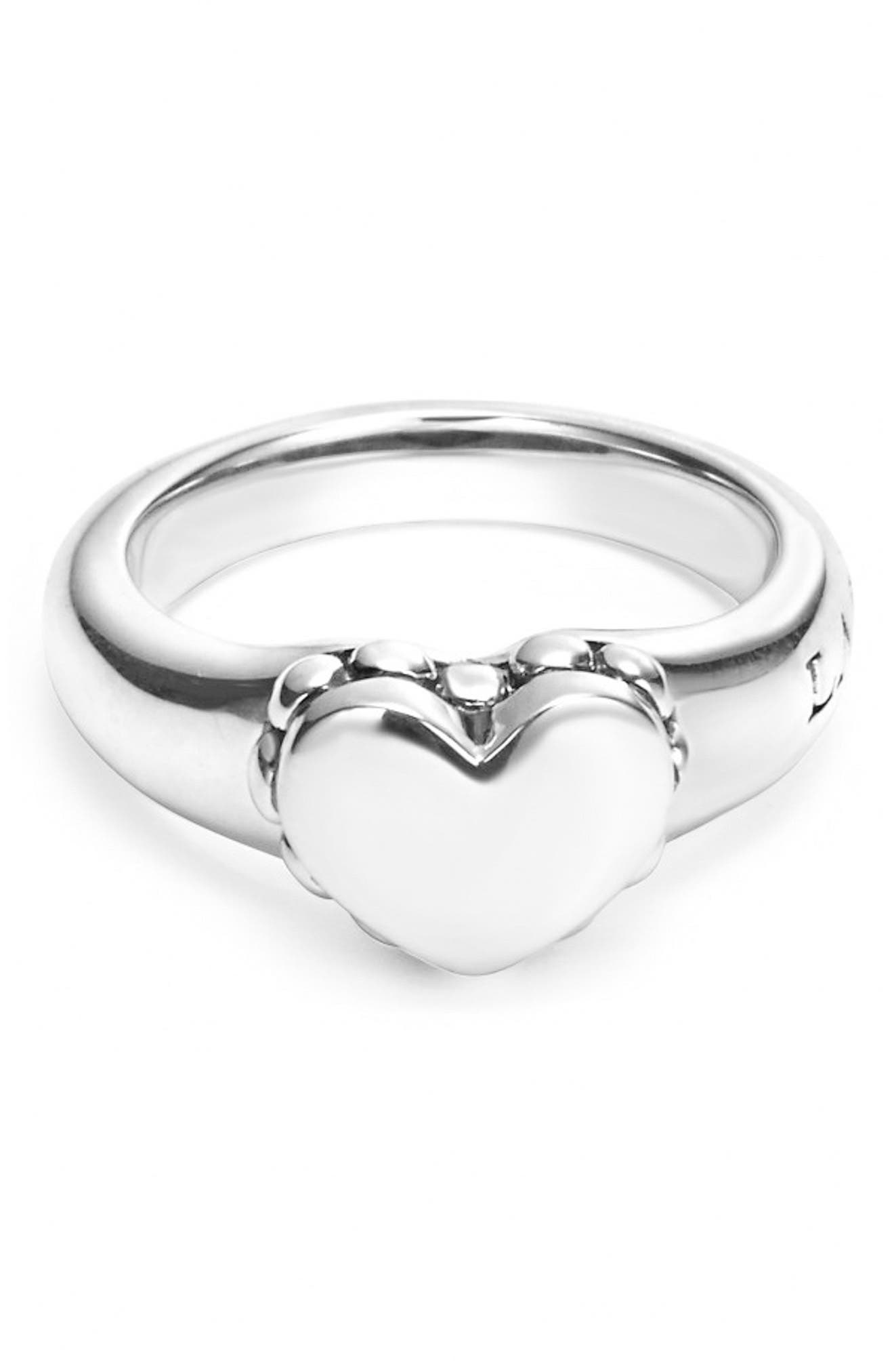 'Beloved' Small Heart Ring,                             Alternate thumbnail 2, color,                             Sterling Silver