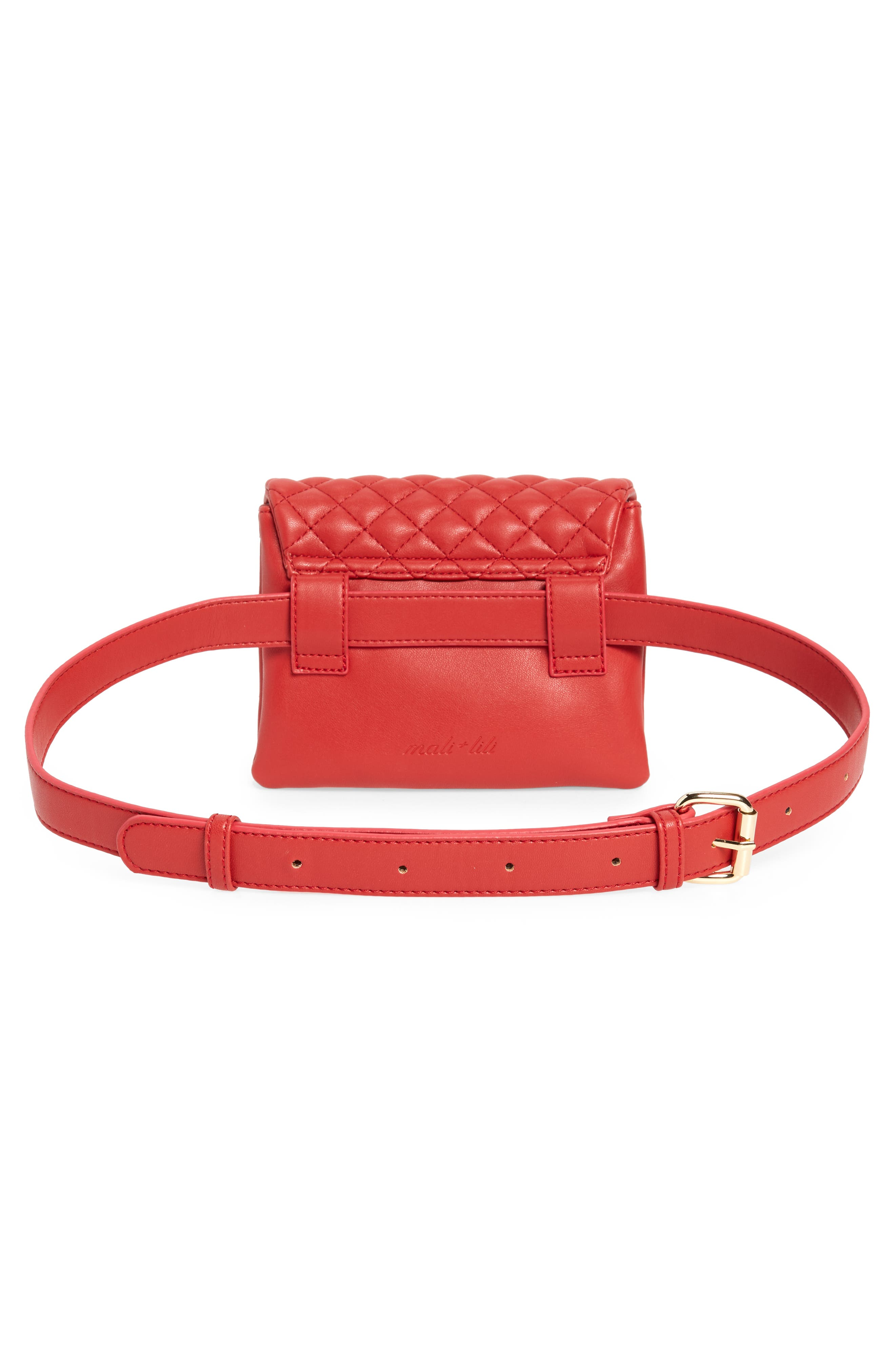 Mali + Lili Quilted Vegan Leather Convertible Belt Bag,                             Alternate thumbnail 6, color,                             Red