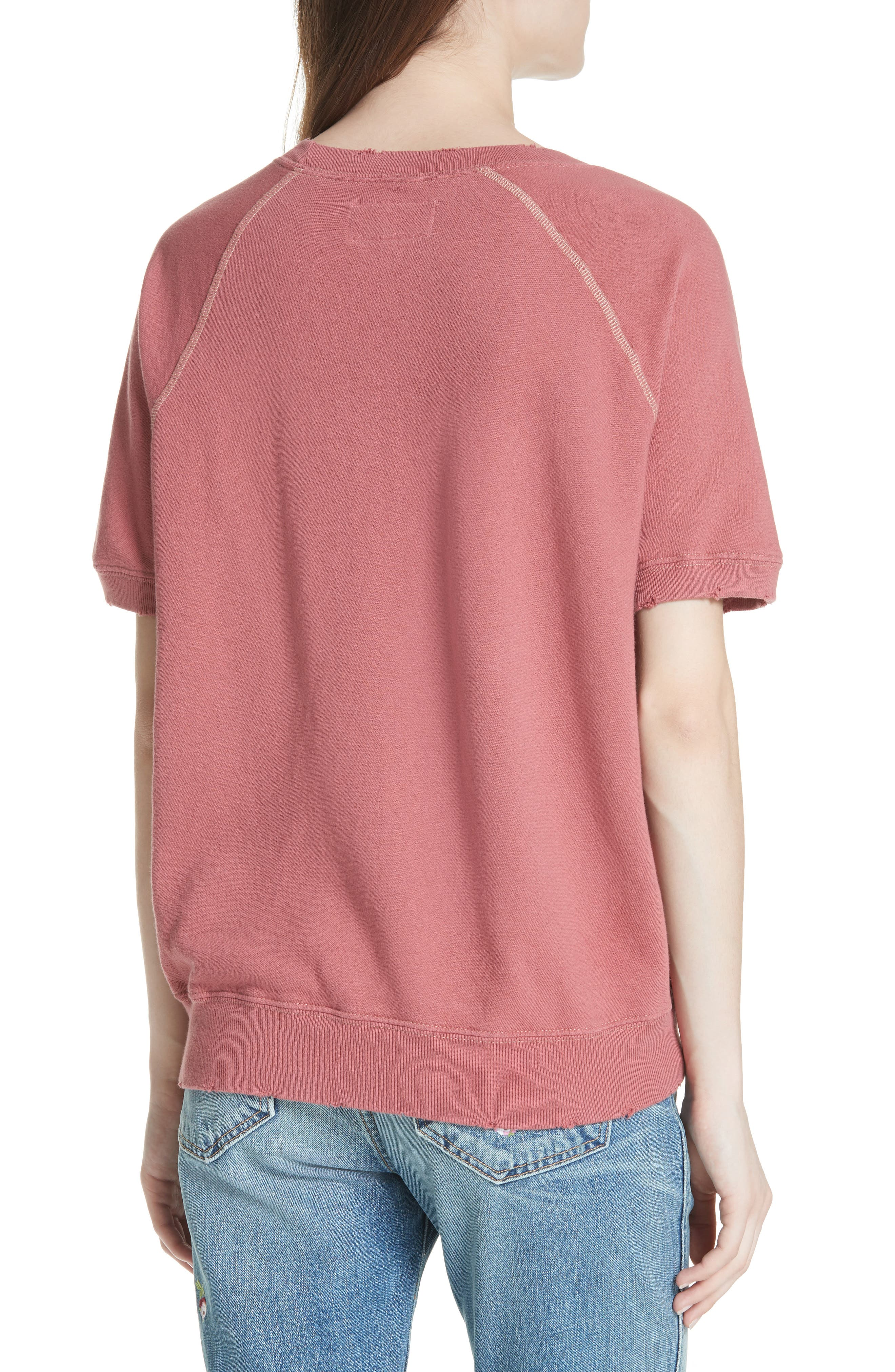Short Sleeve Sweatshirt,                             Alternate thumbnail 2, color,                             Antique Red
