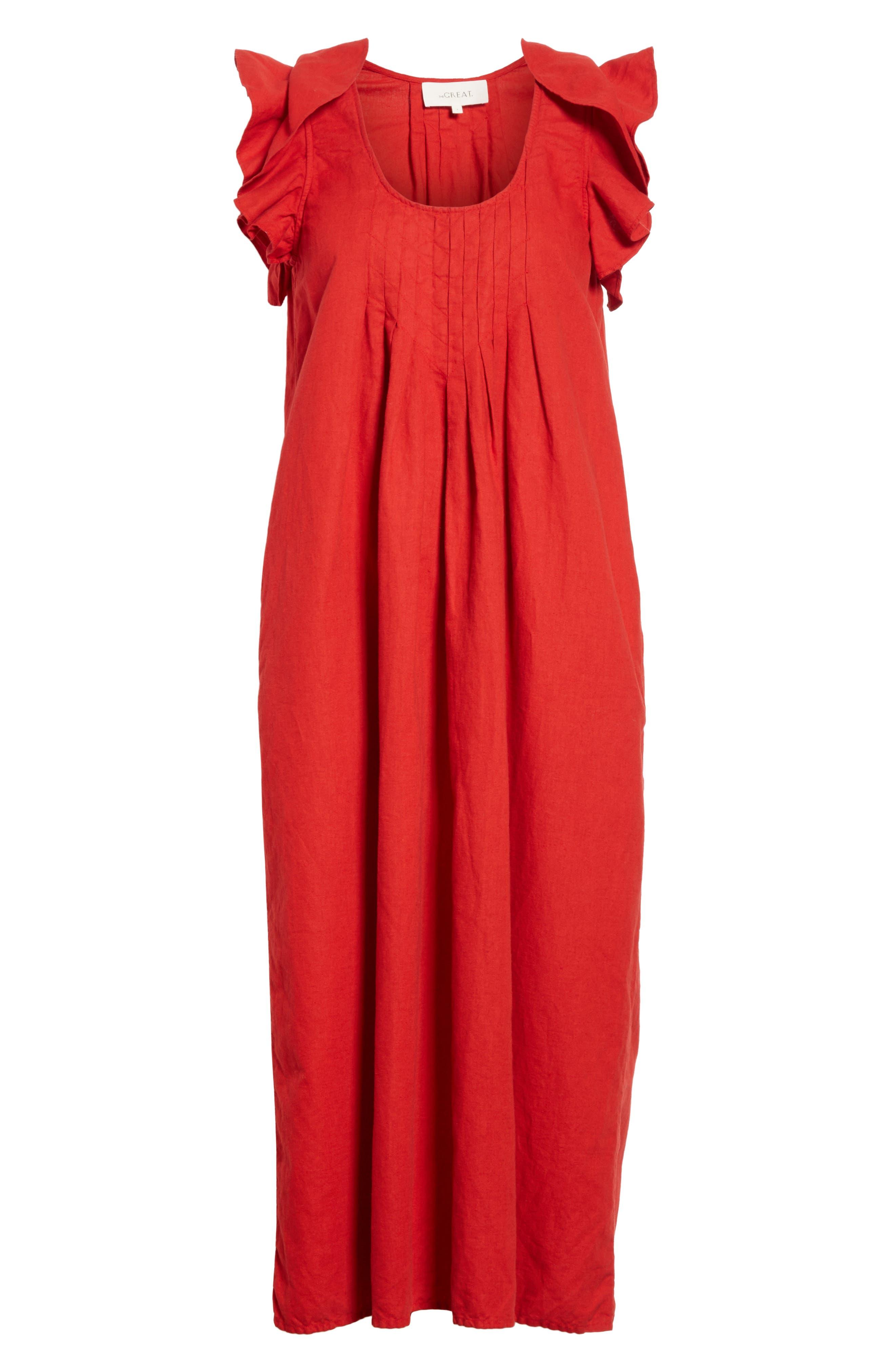 The Flutter Tulip Dress,                             Alternate thumbnail 6, color,                             Poppy