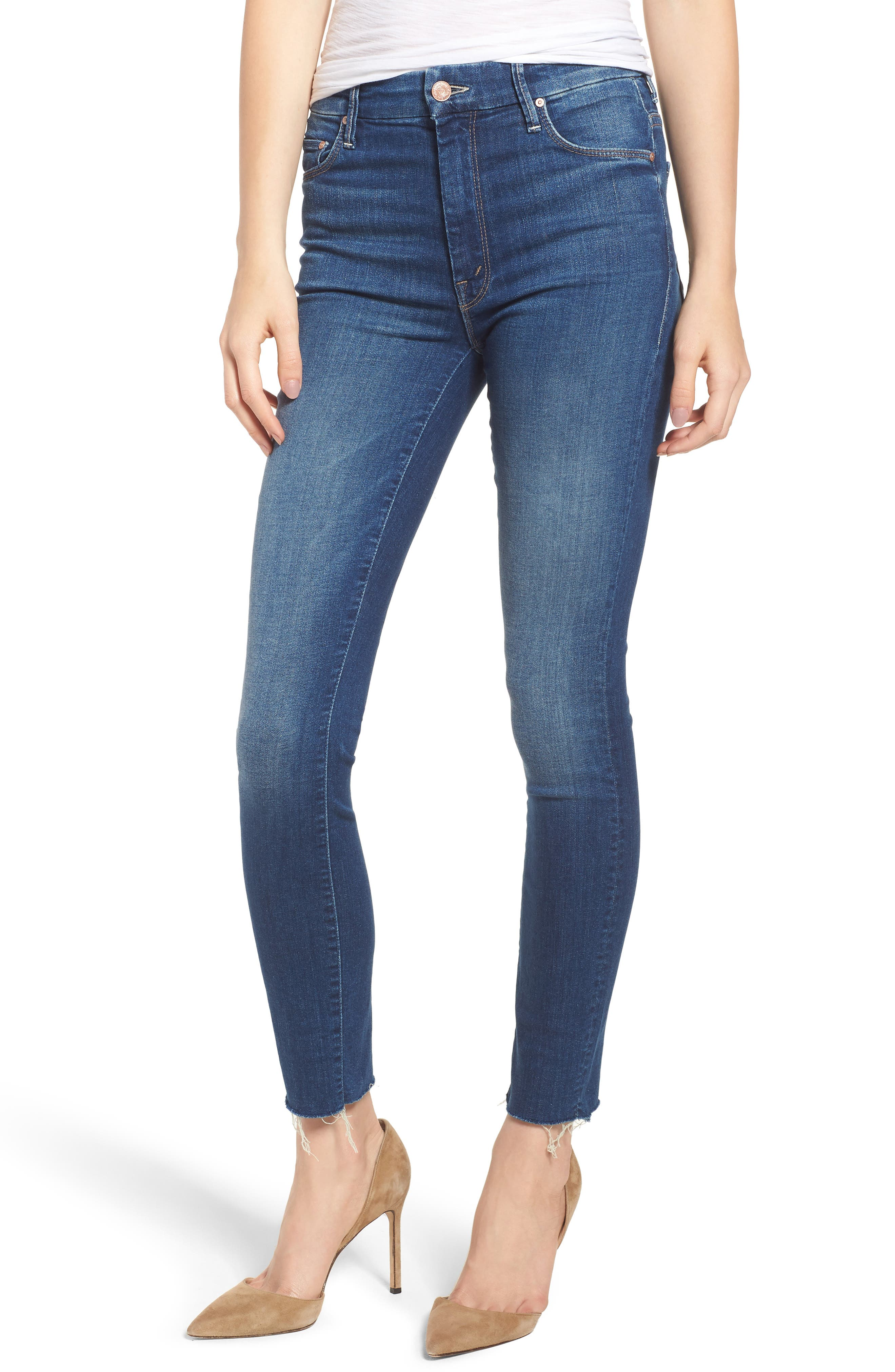 The Looker Frayed High Waist Ankle Skinny Jeans,                         Main,                         color, Going For Gold