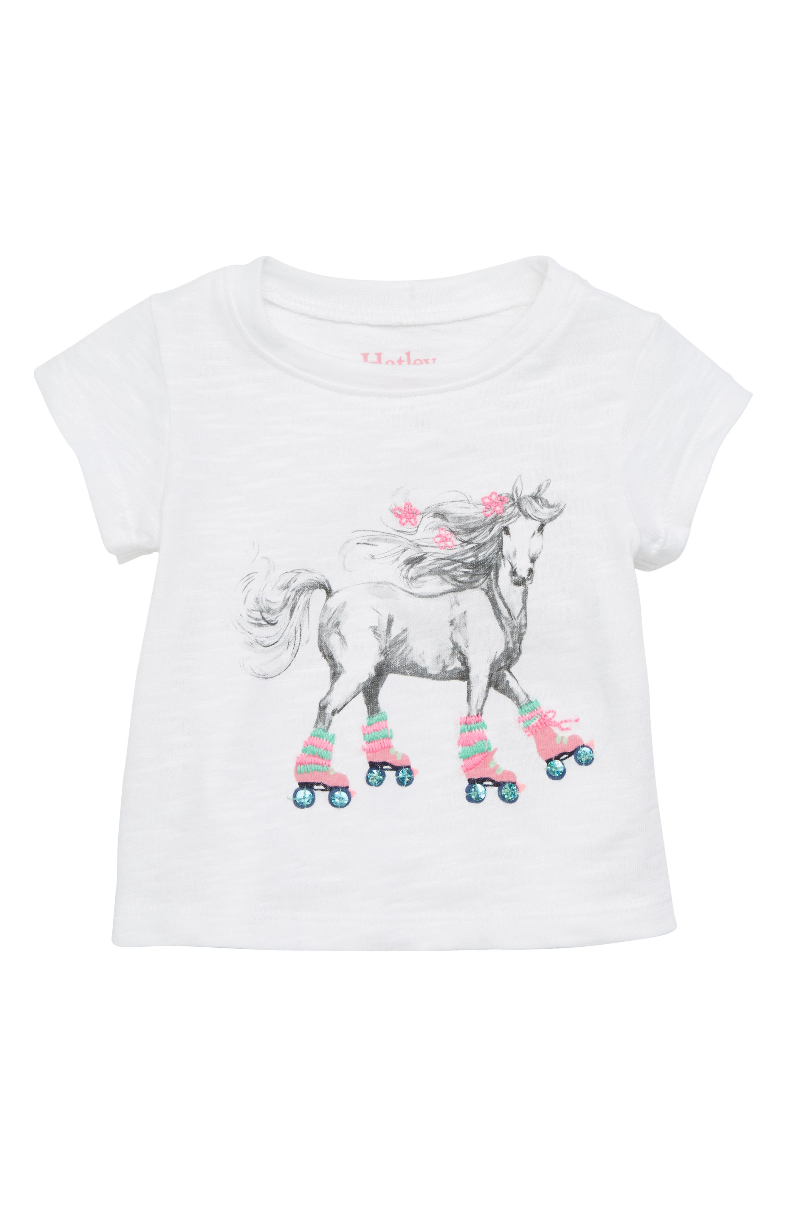 Main Image - Hatley Roller Skating Horse Graphic Tee (Baby Girls)
