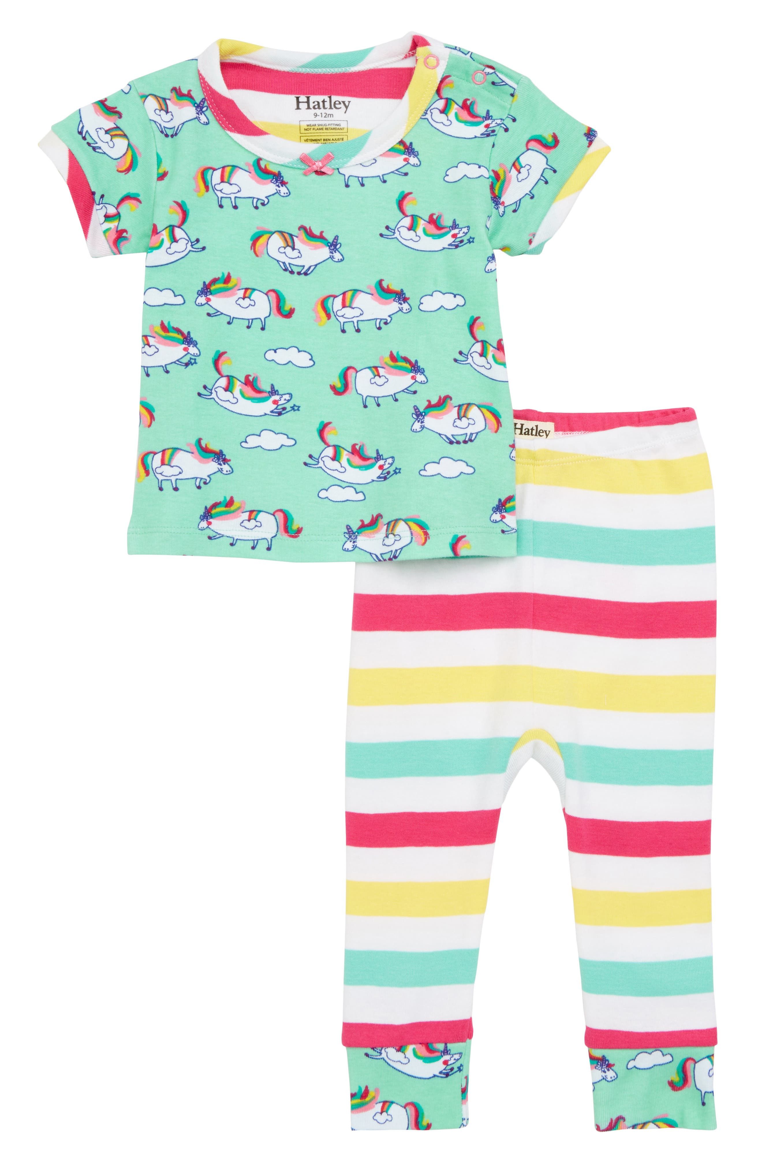 Unicorns & Stripes Fitted Two-Piece Pajamas Set,                             Main thumbnail 1, color,                             Roly Poly Unicorns