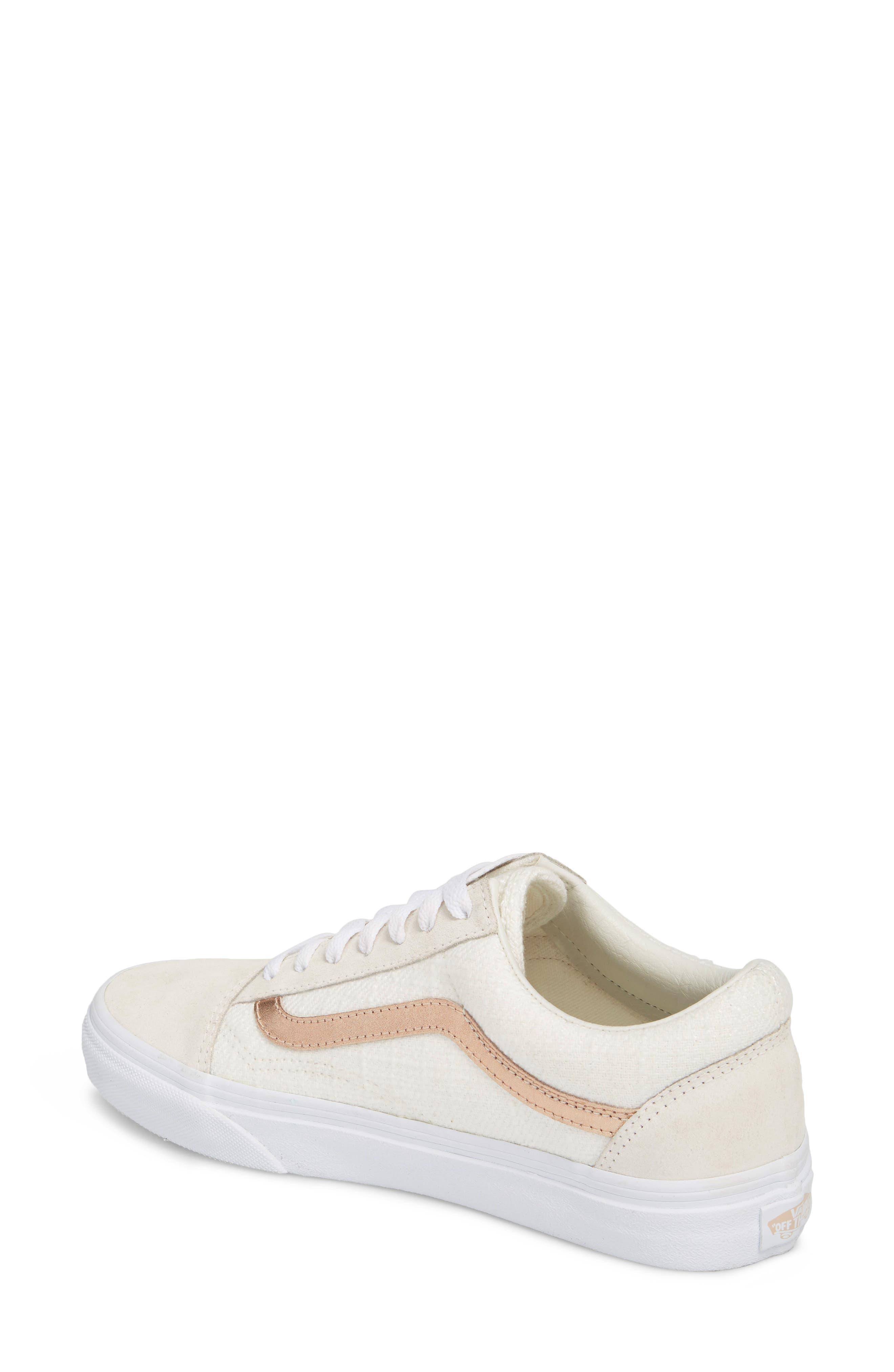 Old Skool Sneaker,                             Alternate thumbnail 3, color,                             Blanc De Blanc/ Rose Gold